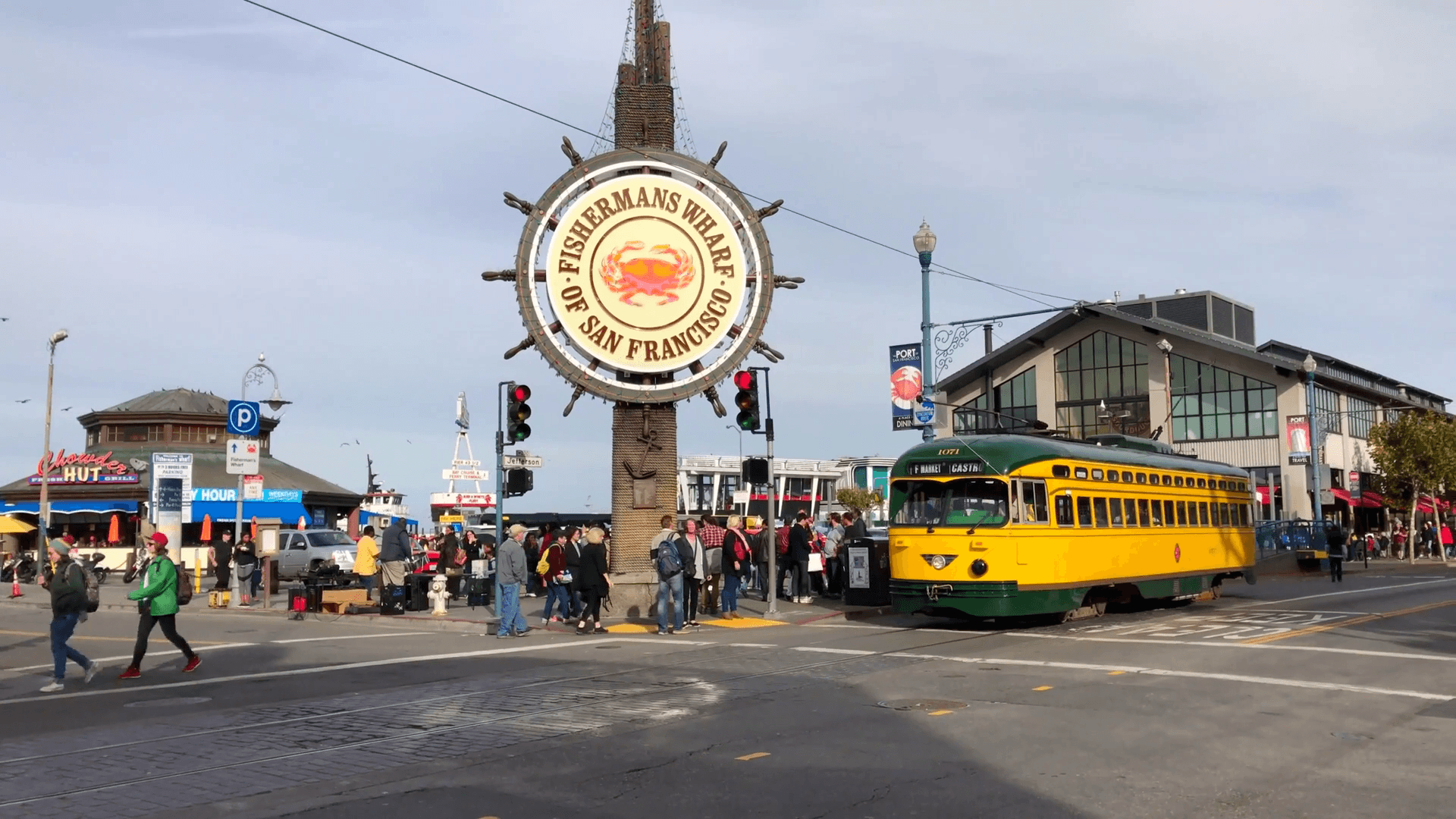 San Francisco trolley rides through Fisherman's wharf Stock Video ...