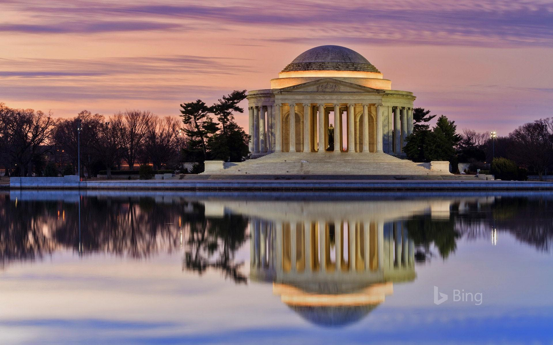 Thomas Jefferson Memorial reflected in the Tidal Basin, Washington