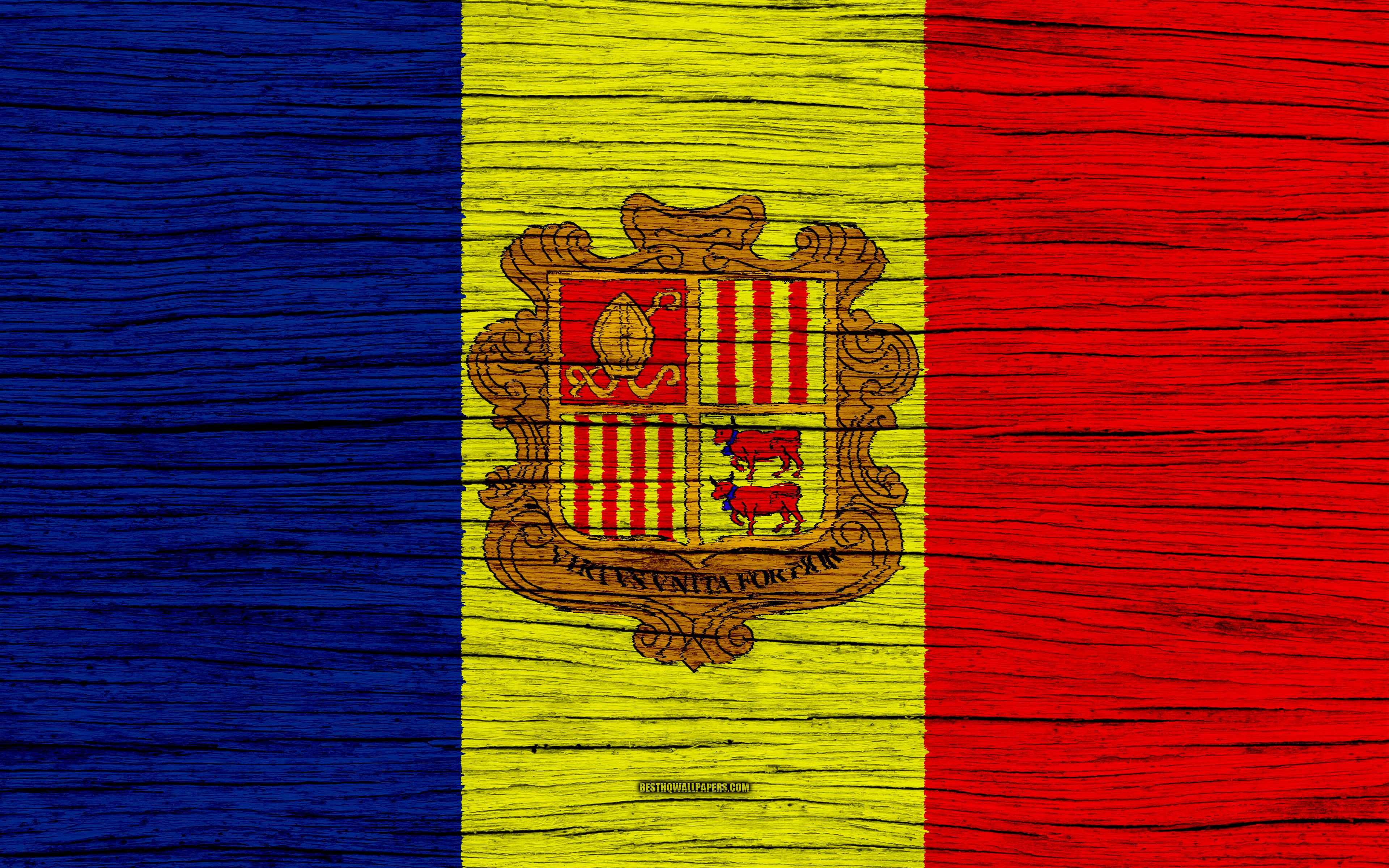 Download wallpapers Flag of Andorra, 4k, Europe, wooden texture