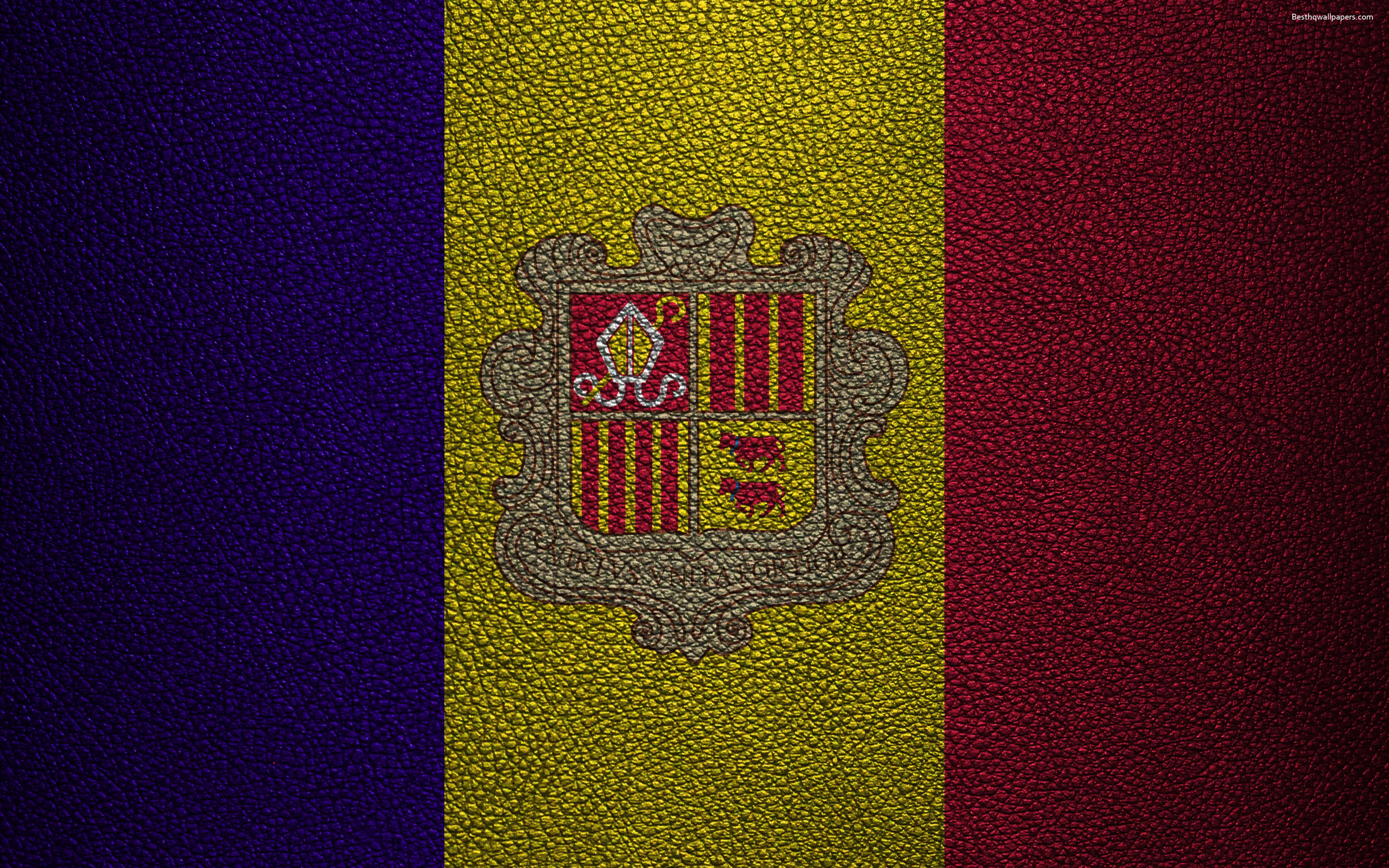 Download wallpapers Flag of Andorra, 4K, leather texture, Andorran