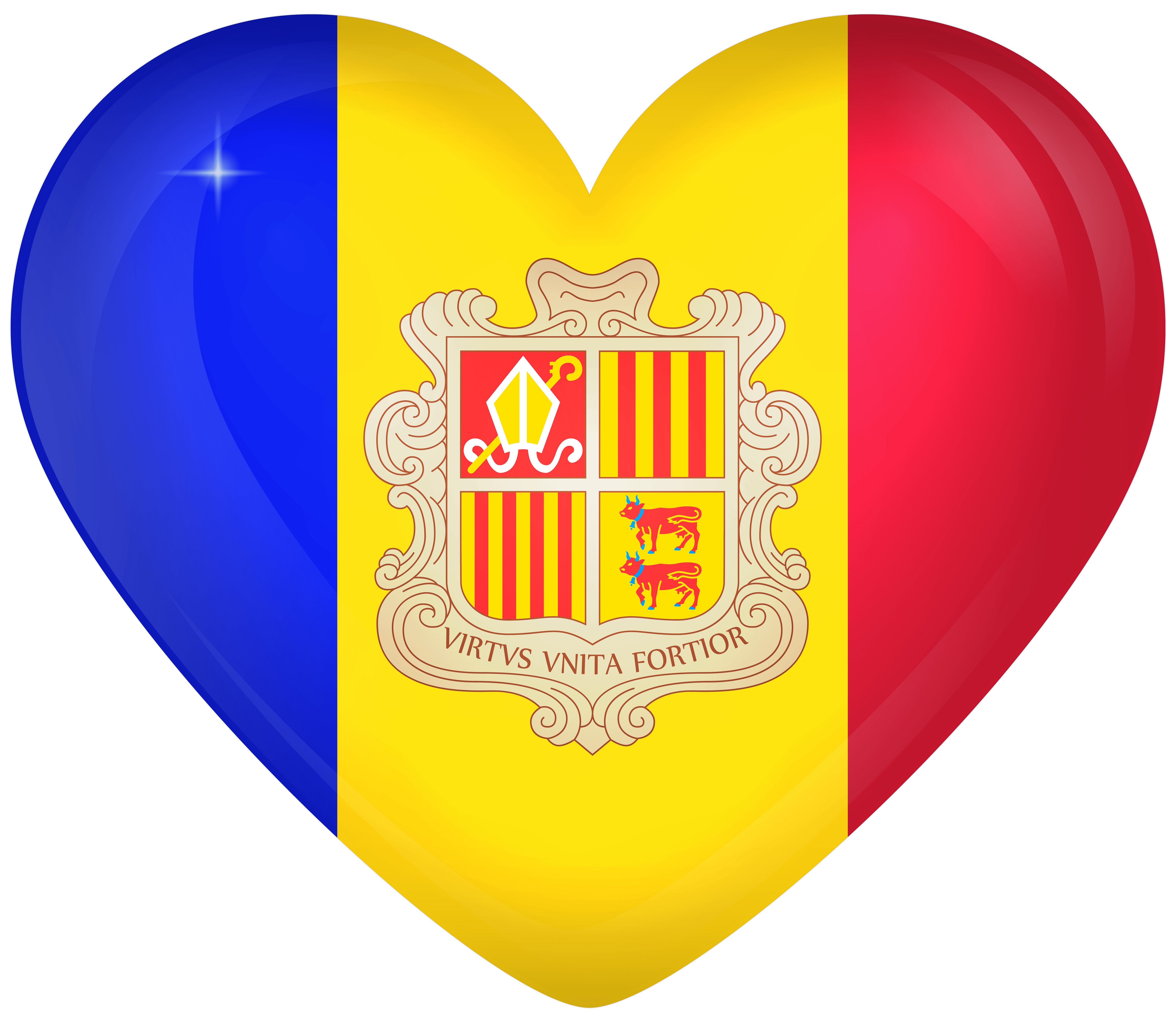 Andorra Large Heart Flag | Gallery Yopriceville - High-Quality ...