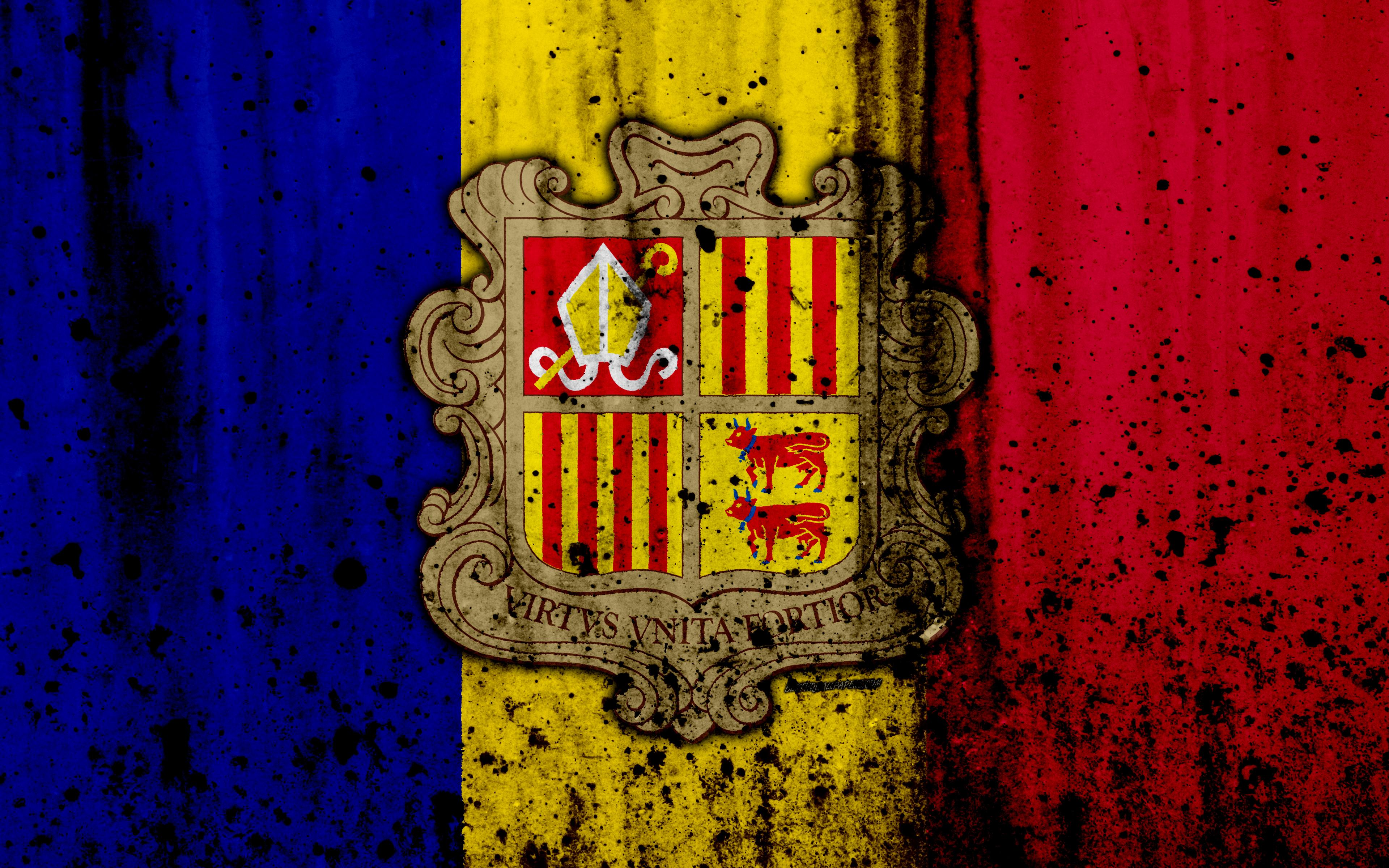 Download wallpapers Andorran flag, 4к, grunge, flag of Andorra ...