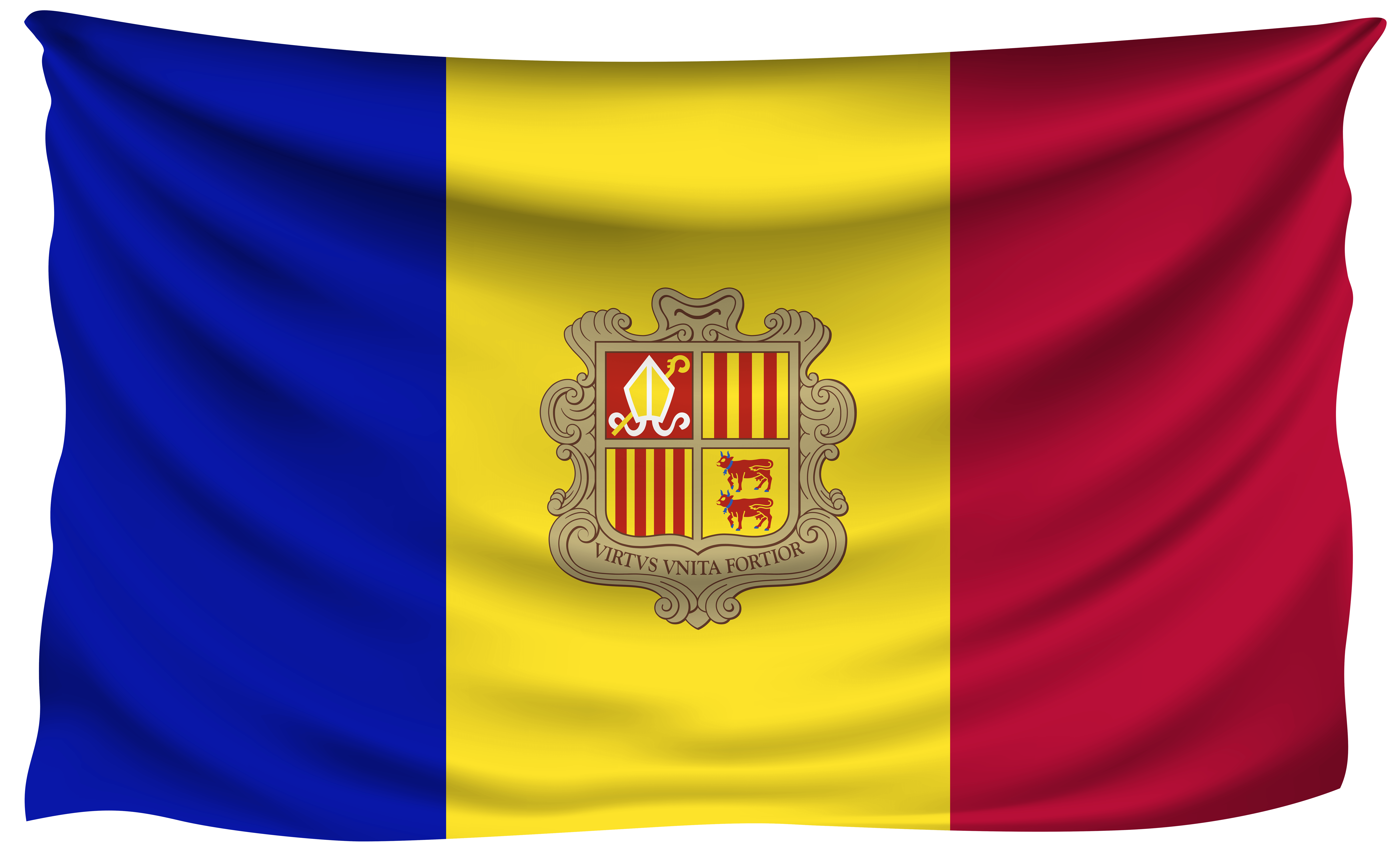 Andorra Wrinkled Flag | Gallery Yopriceville - High-Quality Images ...