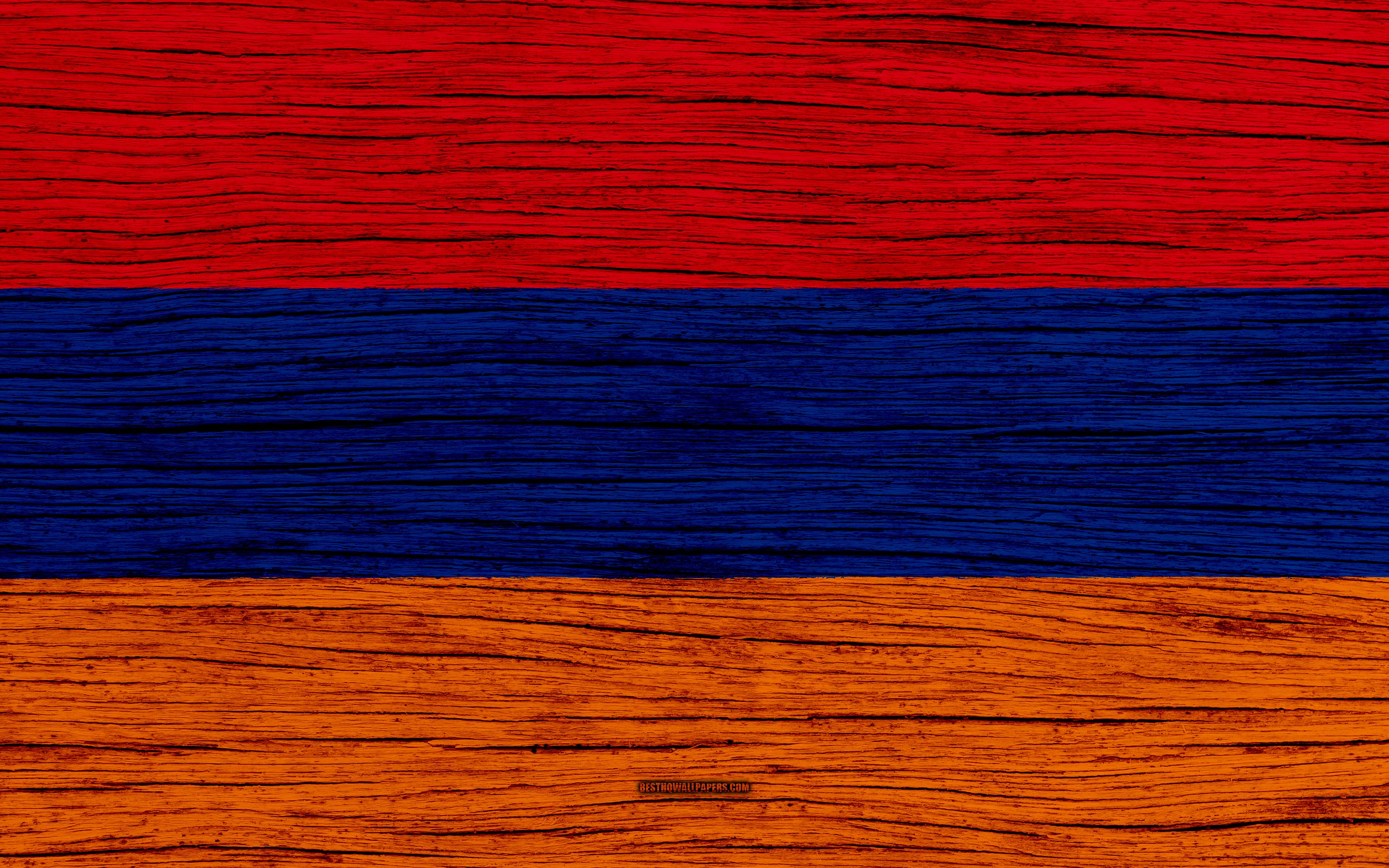 Download wallpapers Flag of Armenia, 4k, Asia, wooden texture