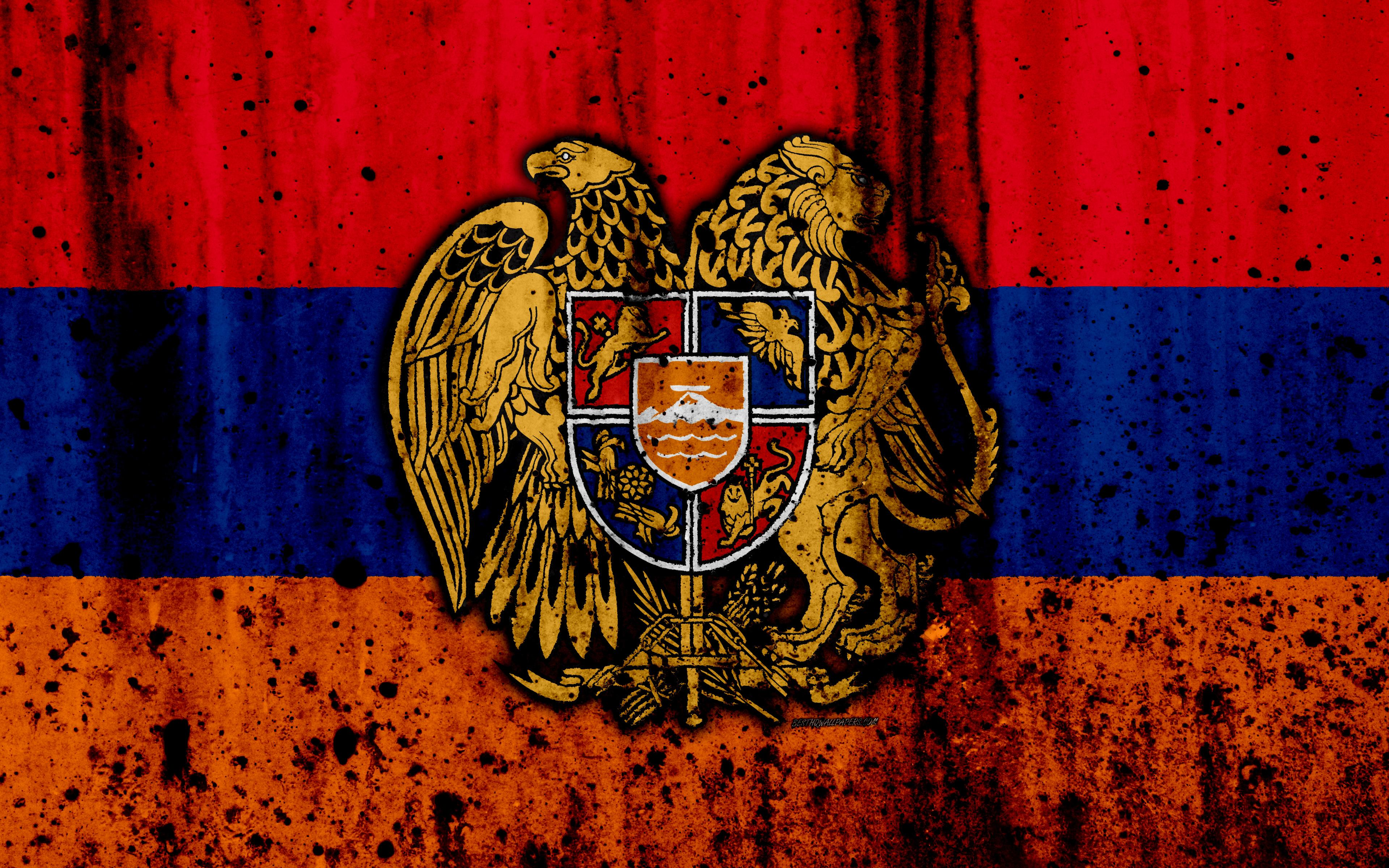 Download wallpapers Armenian flag, 4k, grunge, Asia, flag of Armenia
