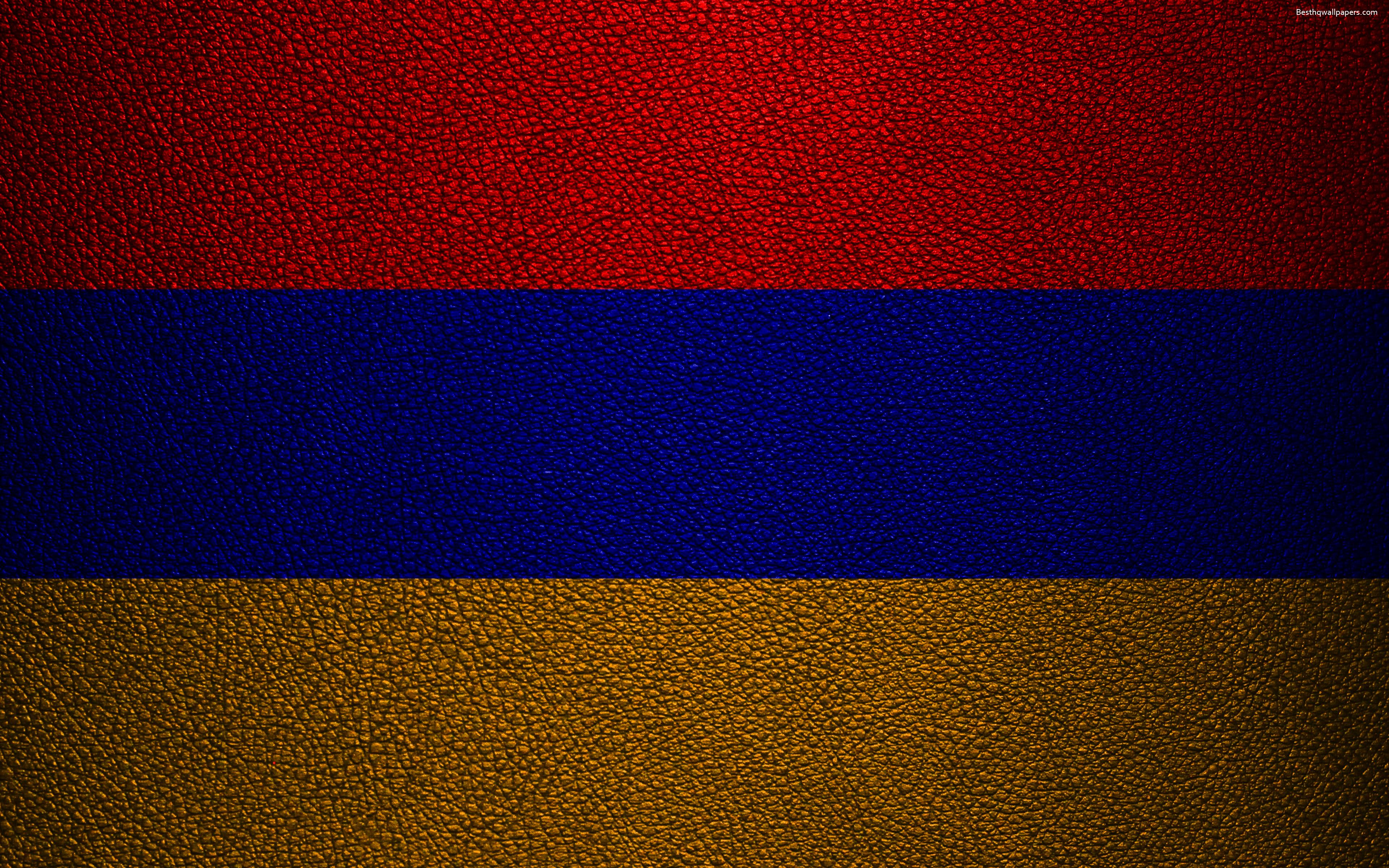 Download wallpapers Flag of Armenia, 4к, leather texture, Armenian