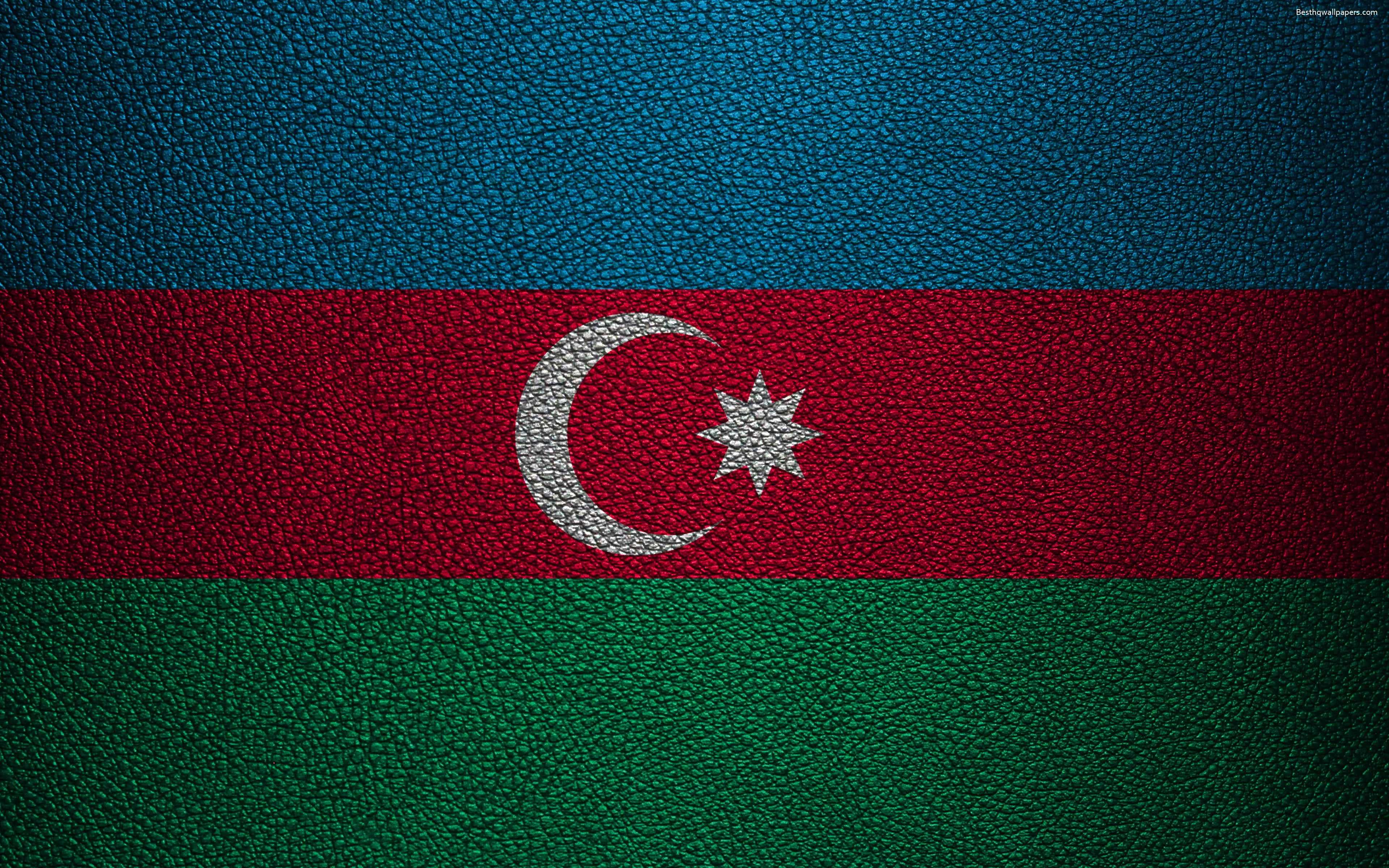 Download wallpapers Flag of Azerbaijan, 4k, leather texture ...