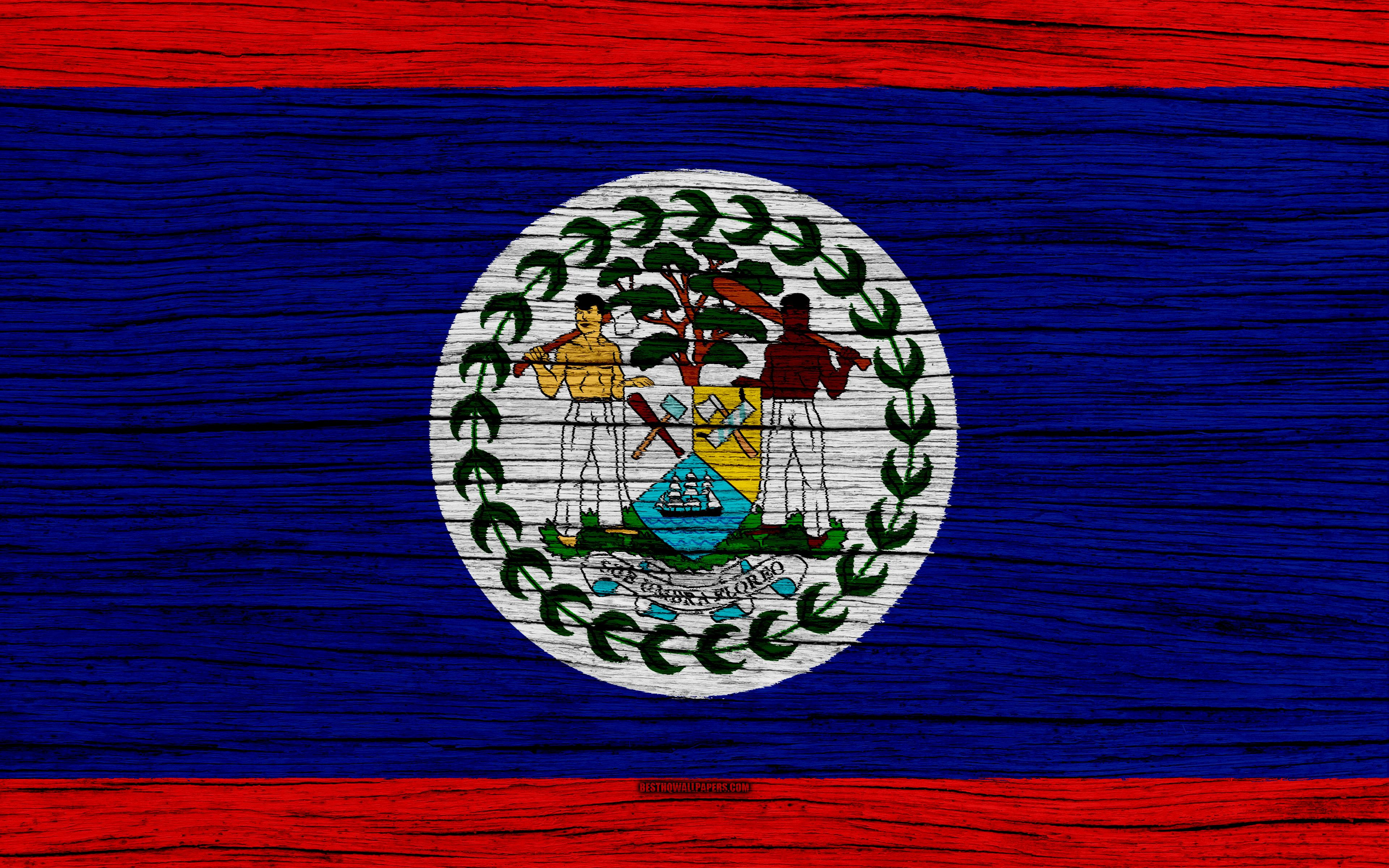 Download wallpapers Flag of Belize, 4k, North America, wooden