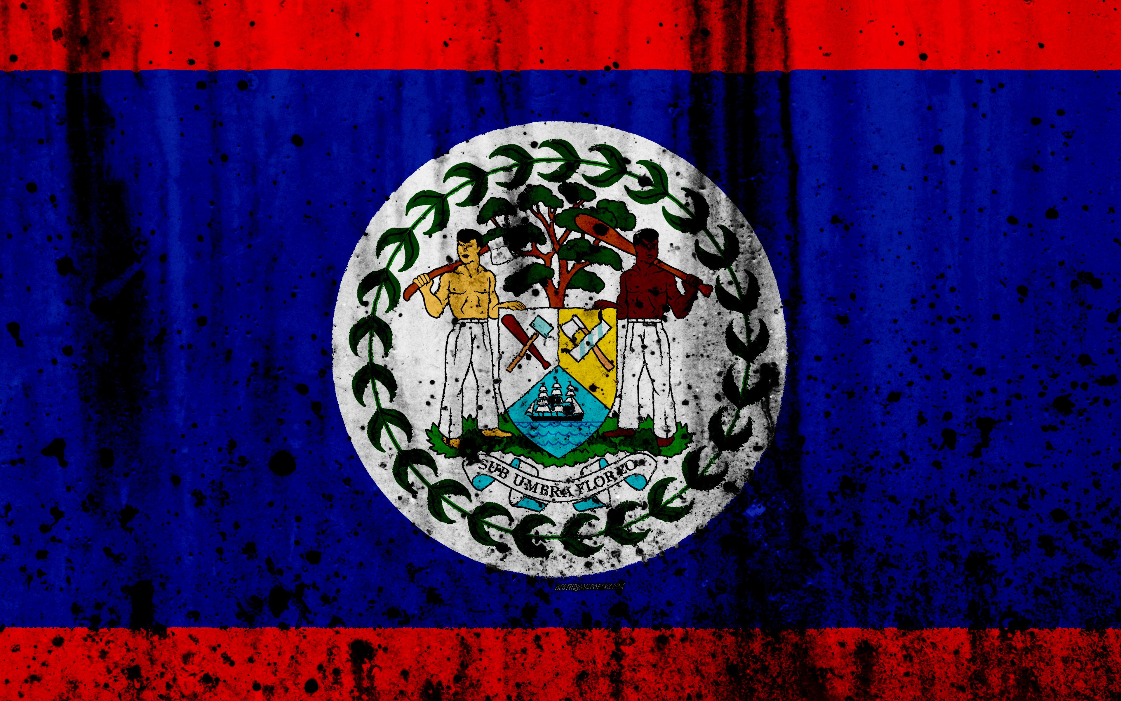 Download wallpapers Belize flag, 4k, grunge, North America, flag of