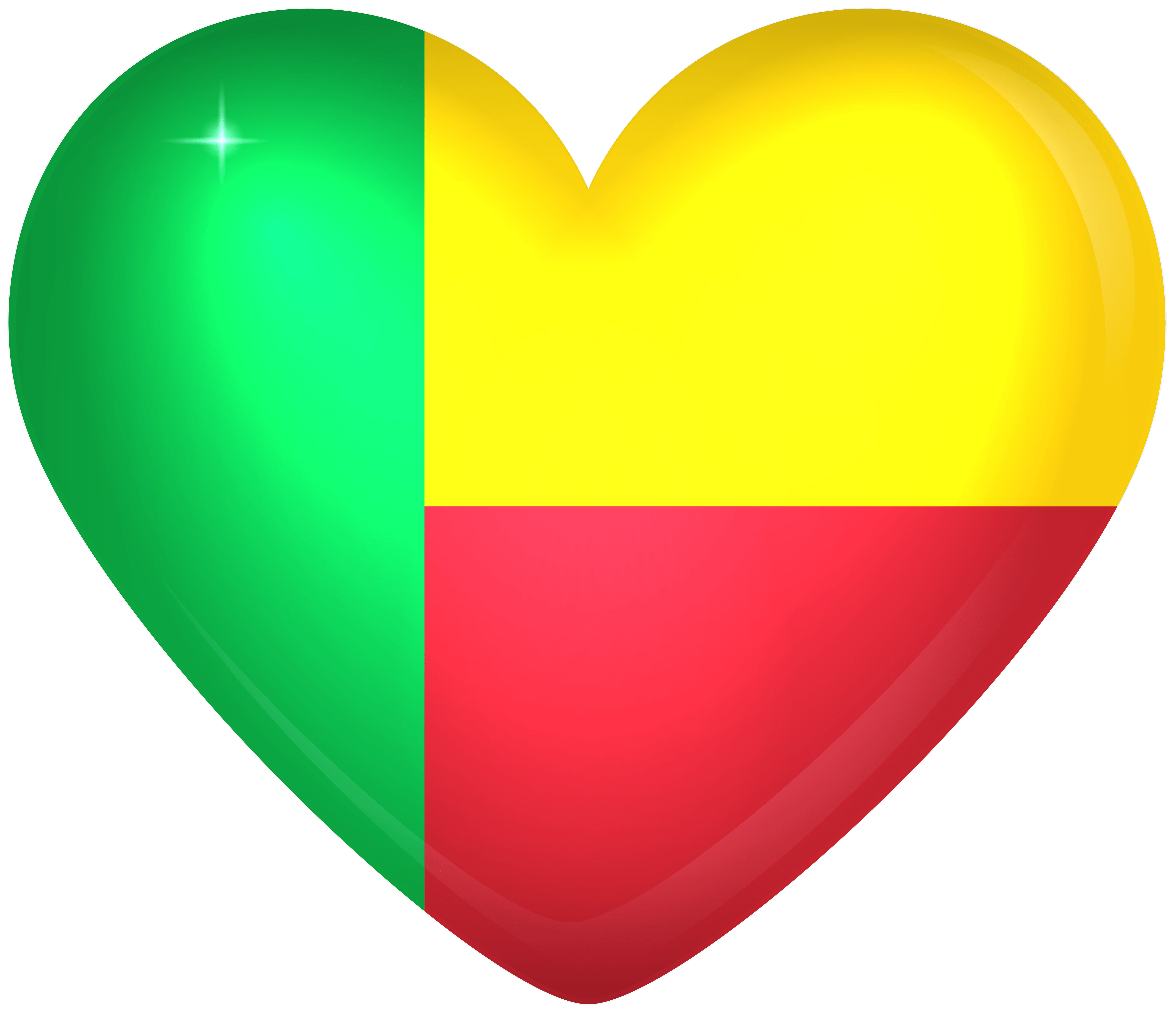 Benin Large Heart Flag | Gallery Yopriceville - High-Quality Images ...