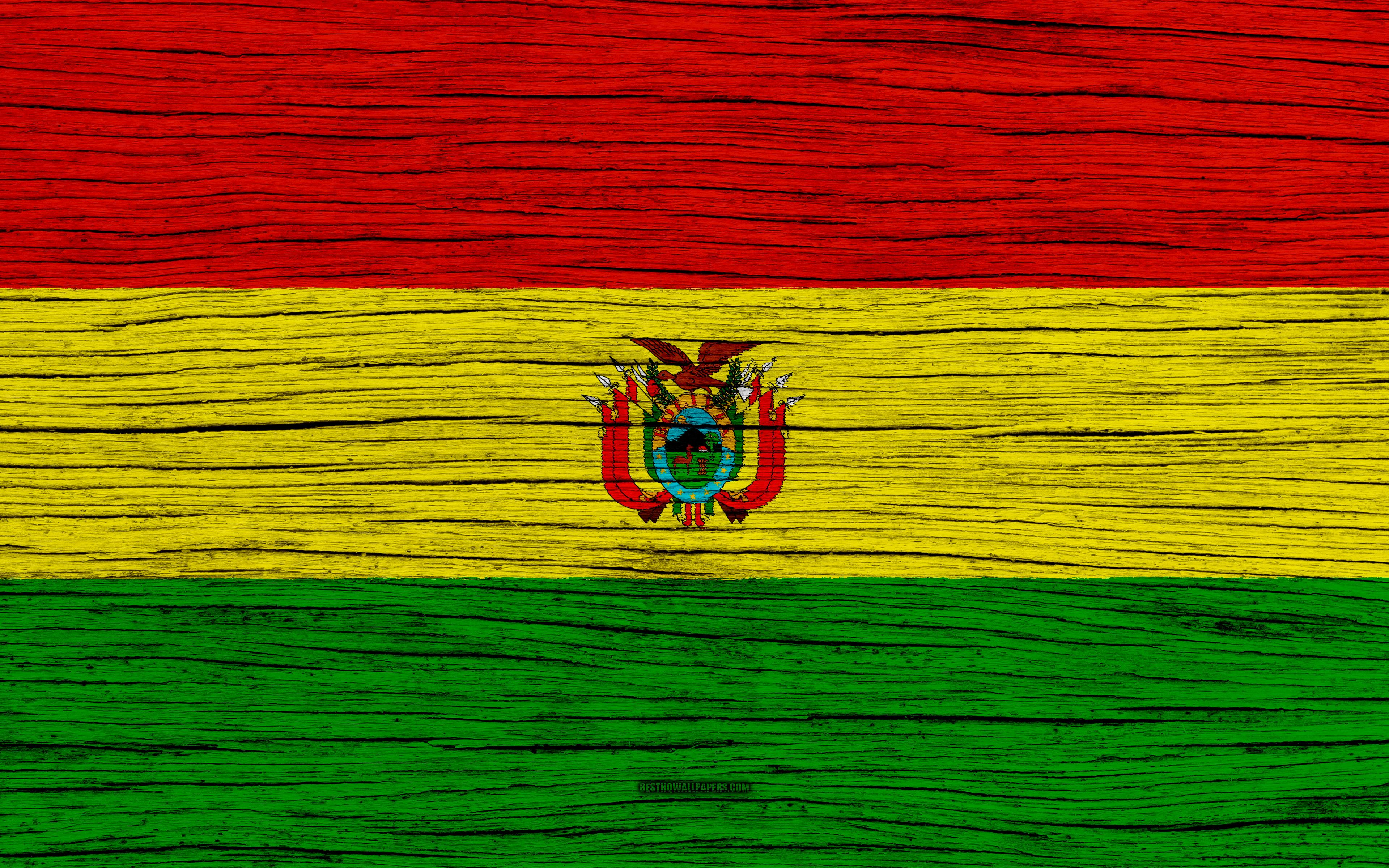 Download wallpapers Flag of Bolivia, 4k, South America, wooden ...