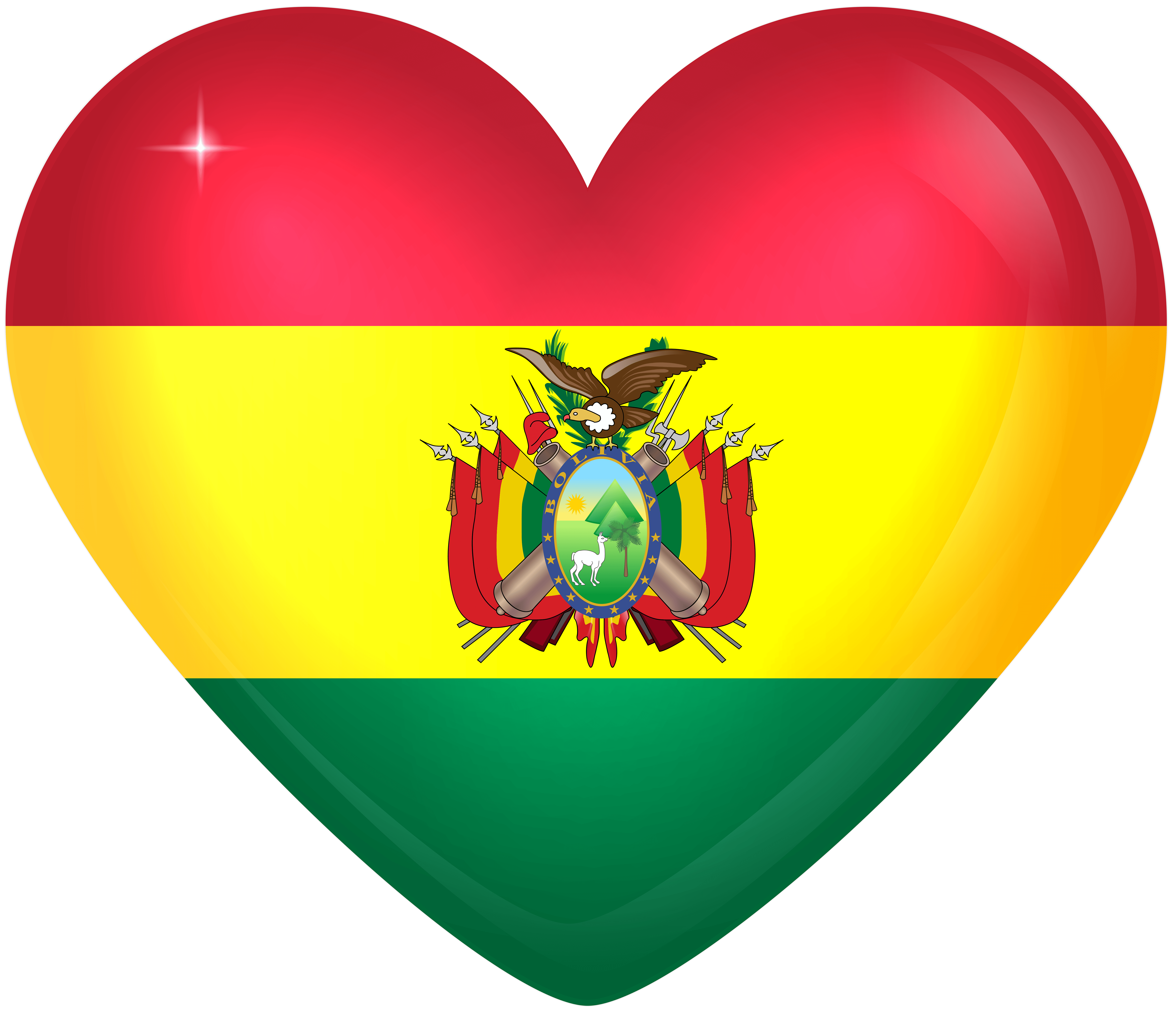 Bolivia Large Heart Flag | Gallery Yopriceville - High-Quality ...