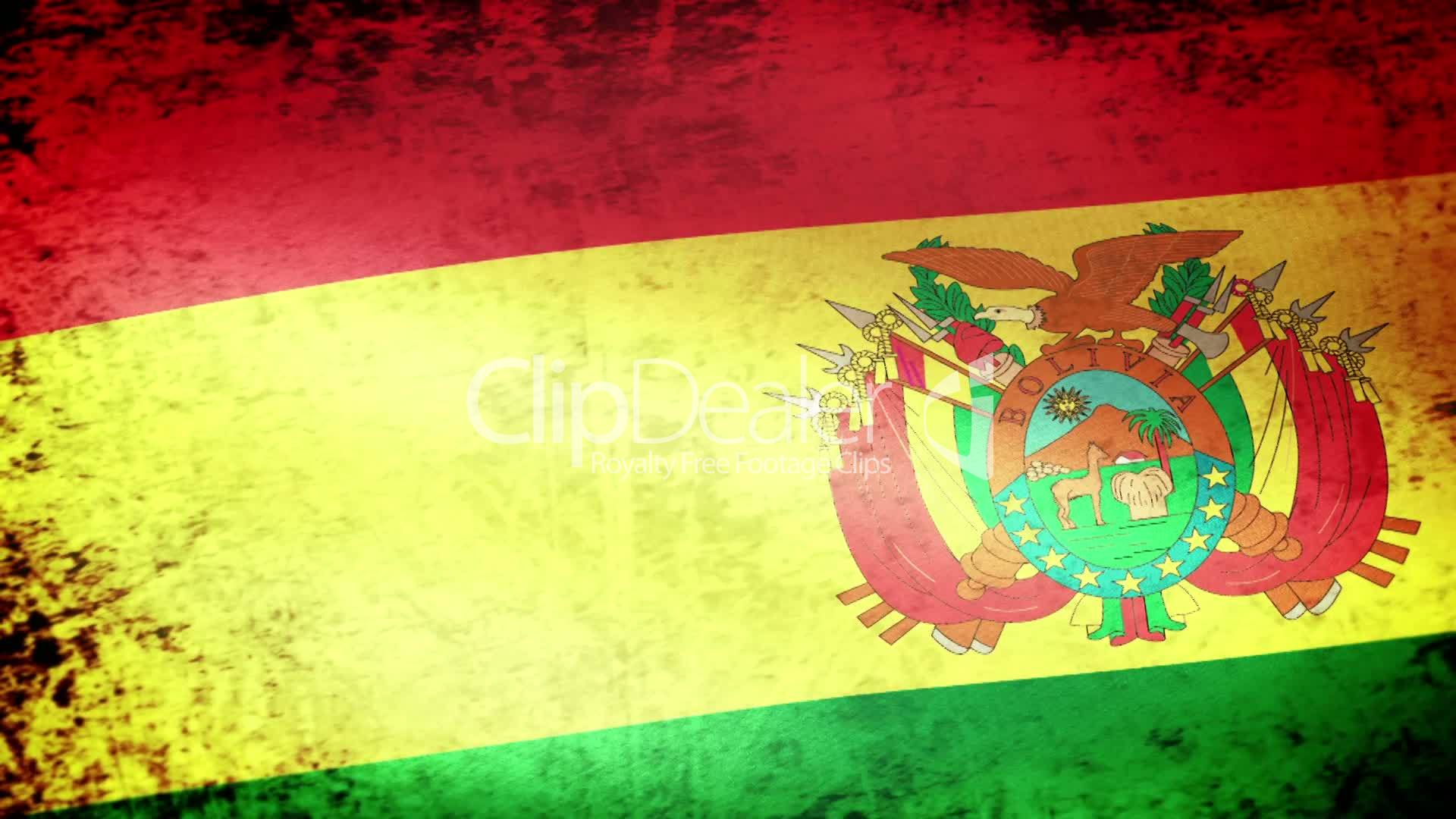 Bolivia Flag Waving, grunge look: Royalty-free video and stock footage