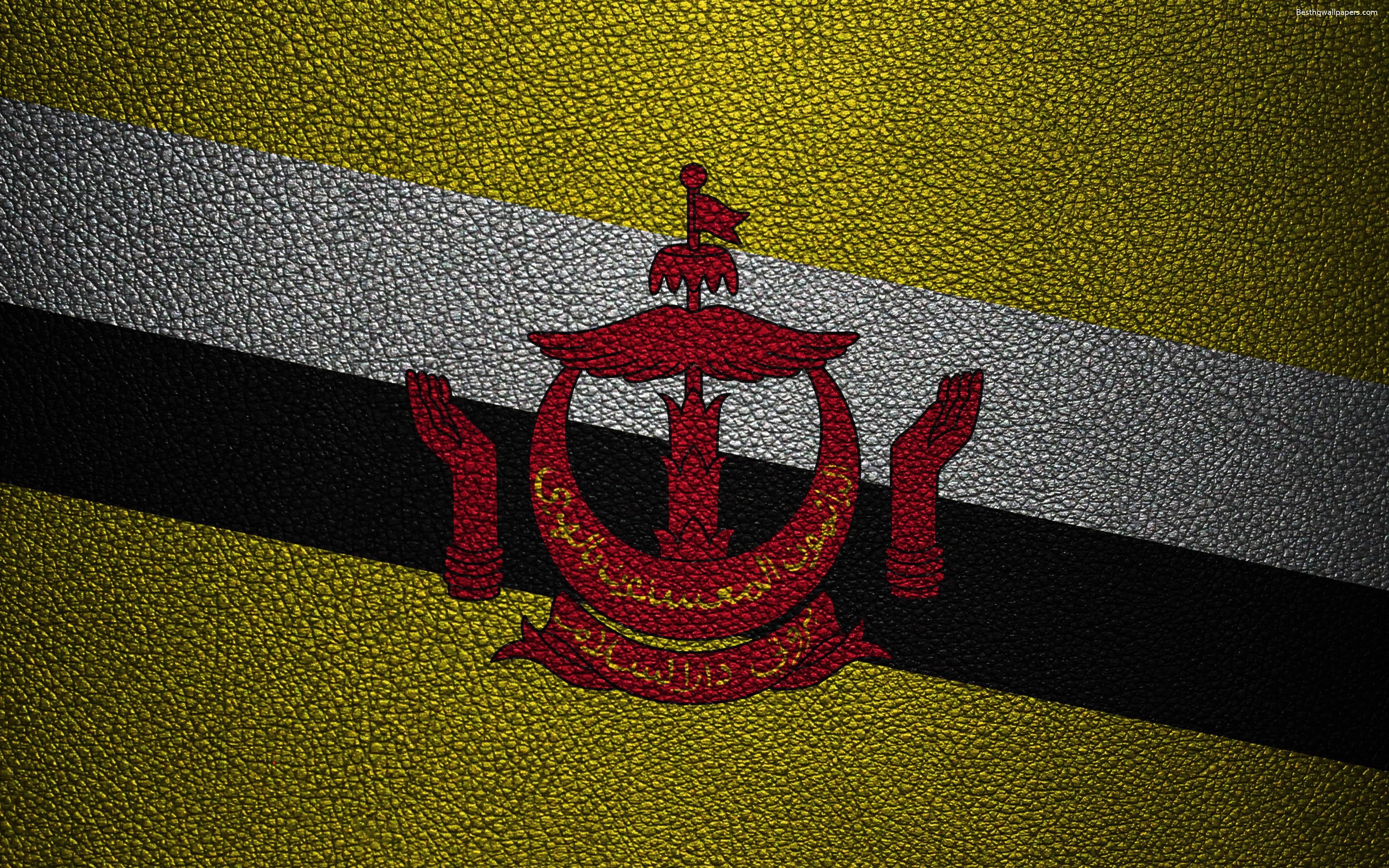 Download wallpapers Flag of Brunei, 4k, leather texture, Brunei flag
