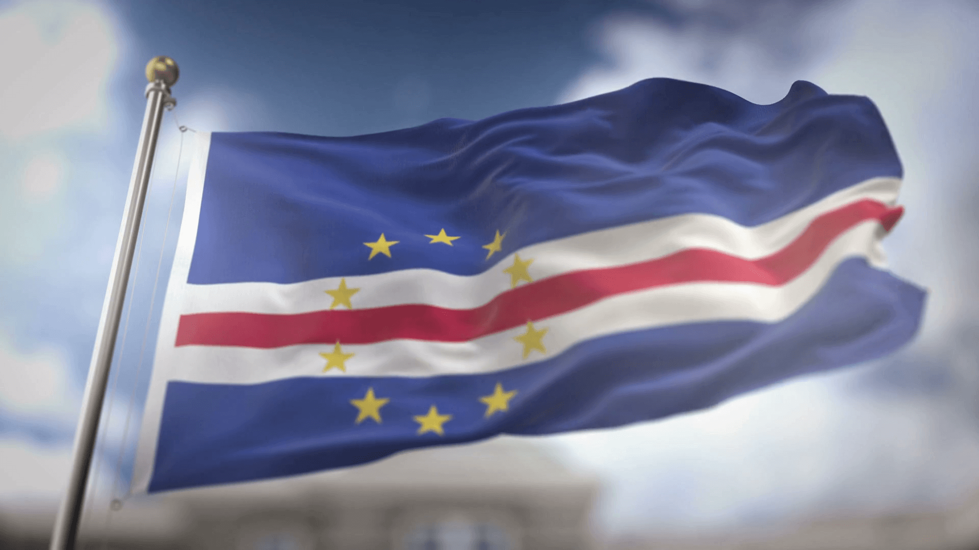 Cape Verde Flag Waving Slow Motion 3D Rendering Blue Sky Background ...