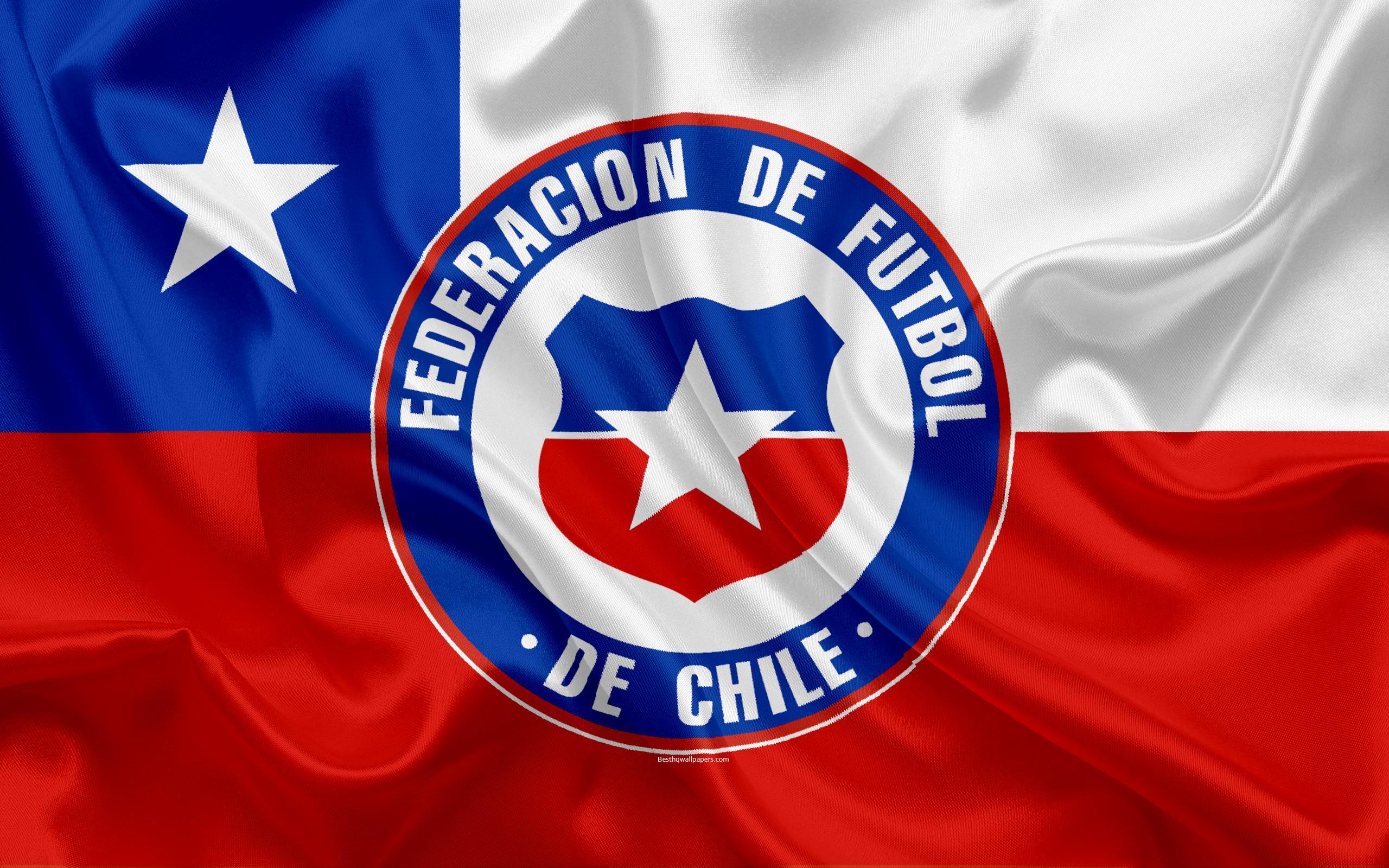 Download wallpapers Chile national football team, logo, emblem, flag