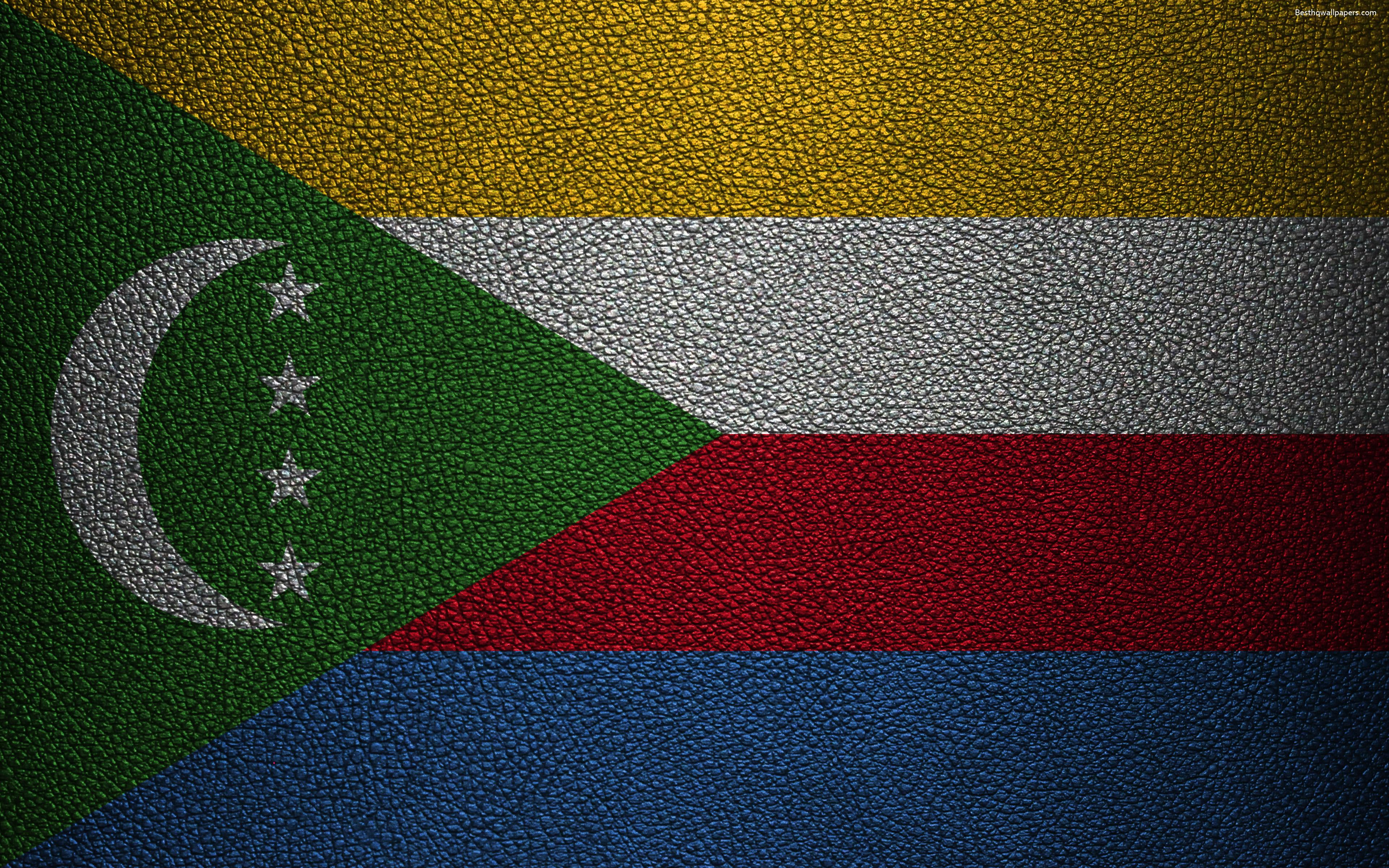 Download wallpapers Flag of Comoros, 4k, leather texture, Africa