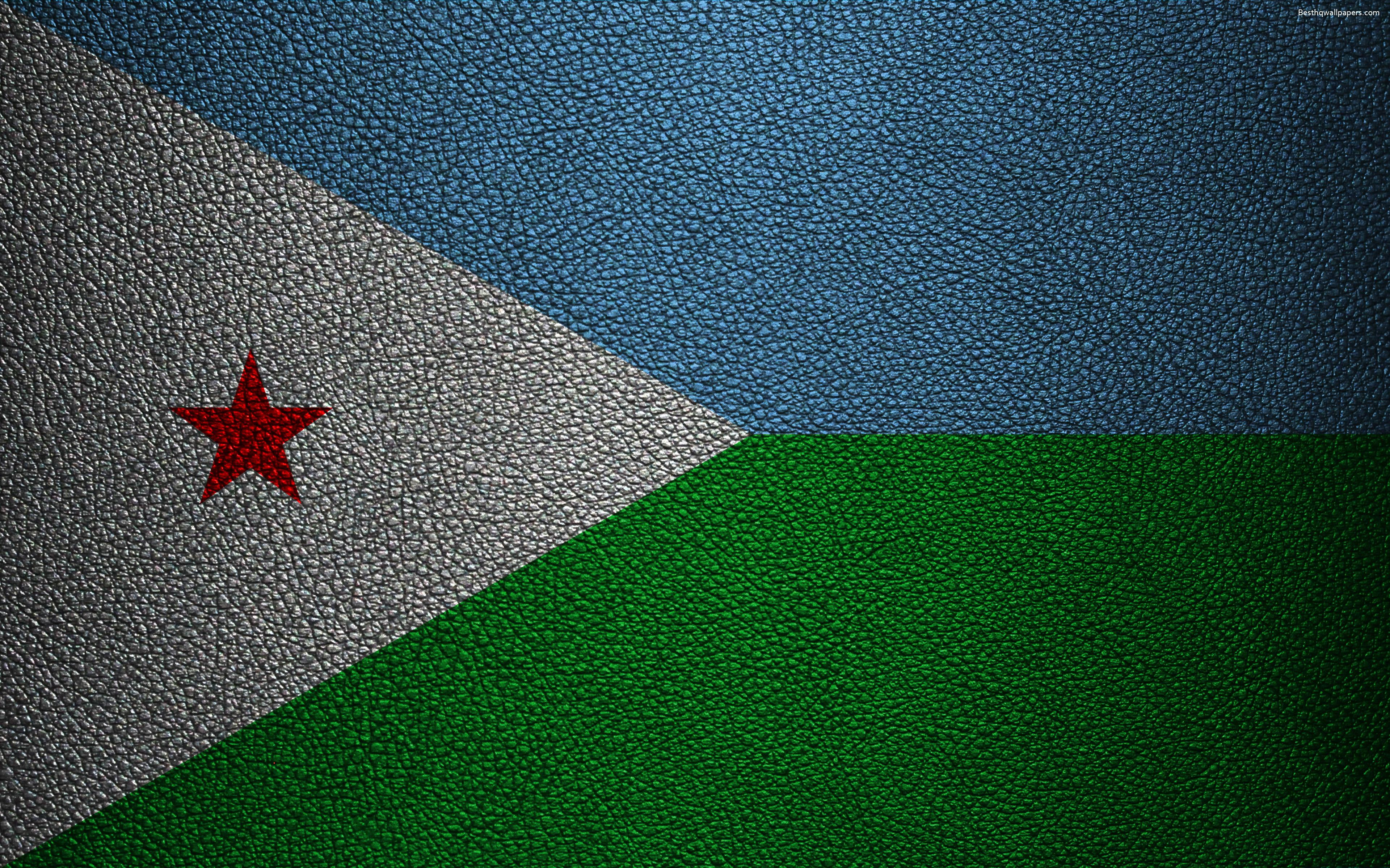 Download wallpapers Flag of Djibouti, leather texture, 4k