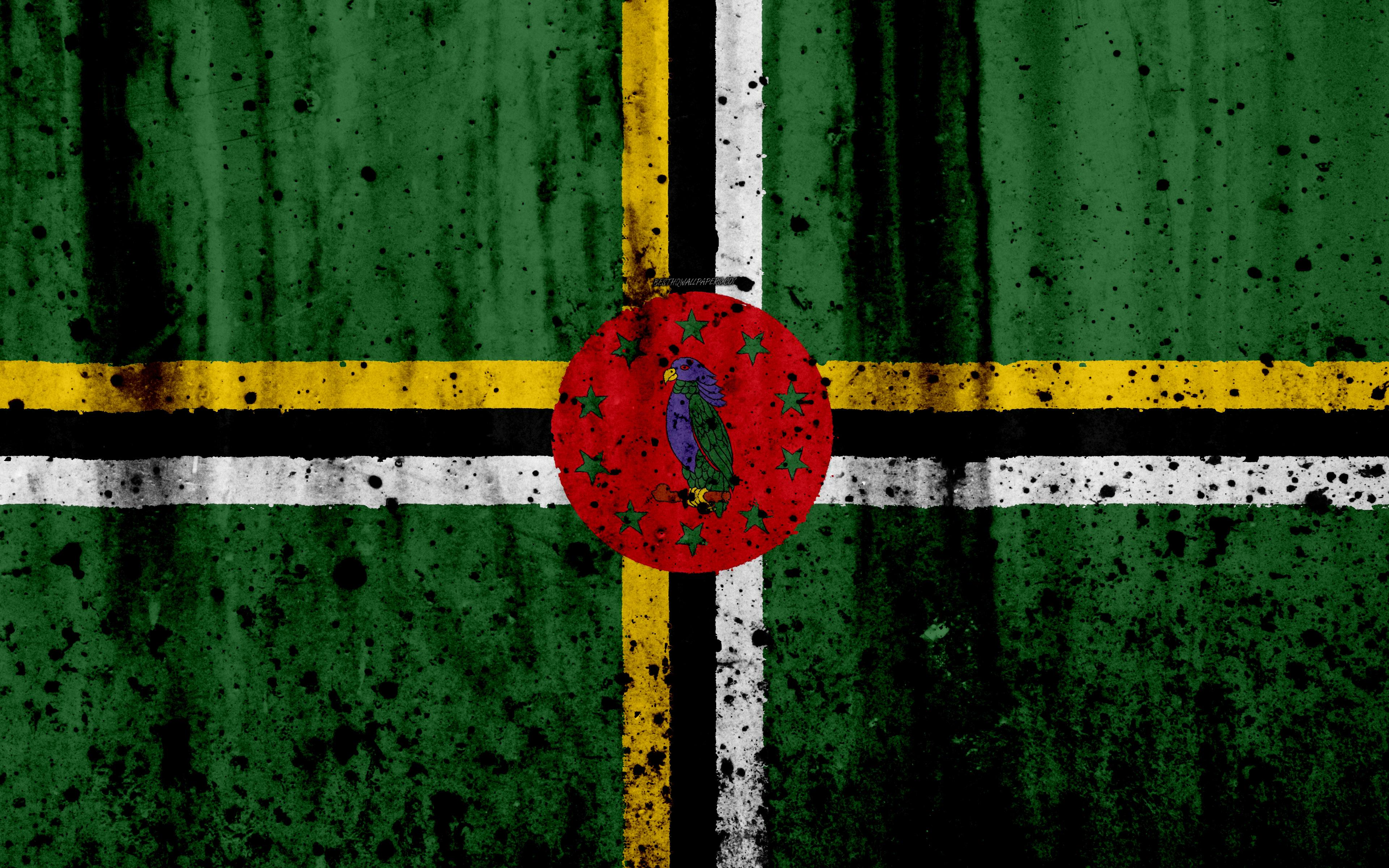 Download wallpapers Dominican flag, 4k, grunge, flag of Dominica ...
