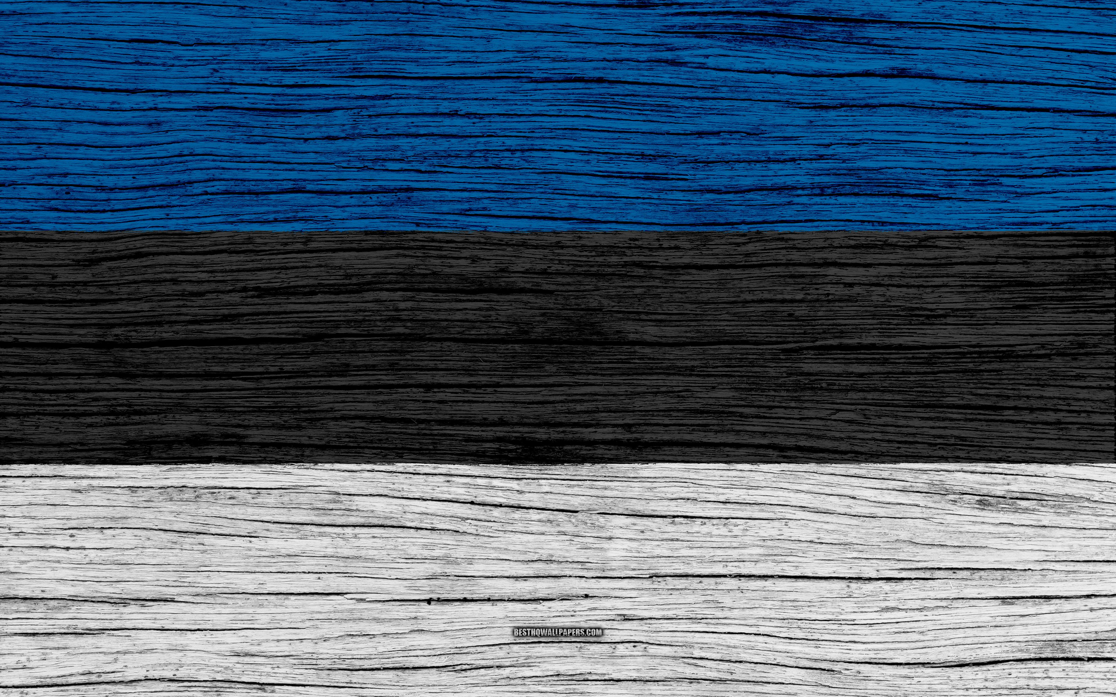 Download wallpapers Flag of Estonia, 4k, Europe, wooden texture