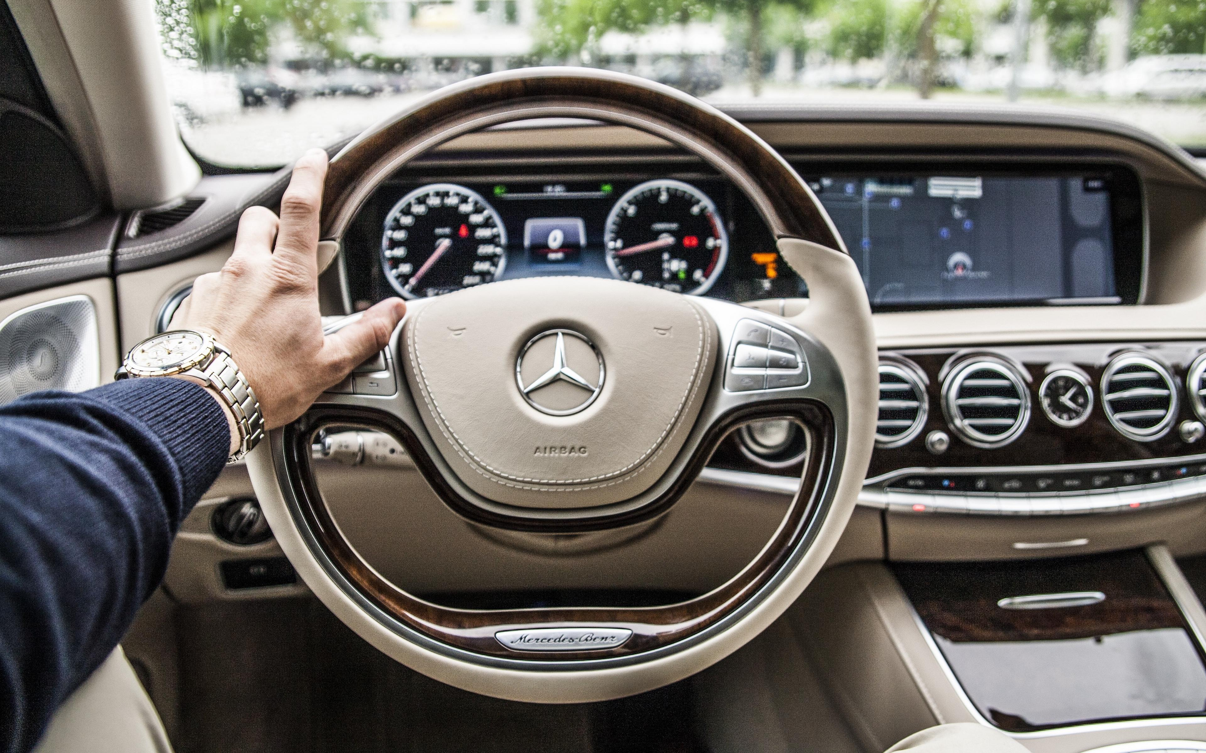 Download wallpapers 3840x2400 mercedes, car, steering wheel, interior
