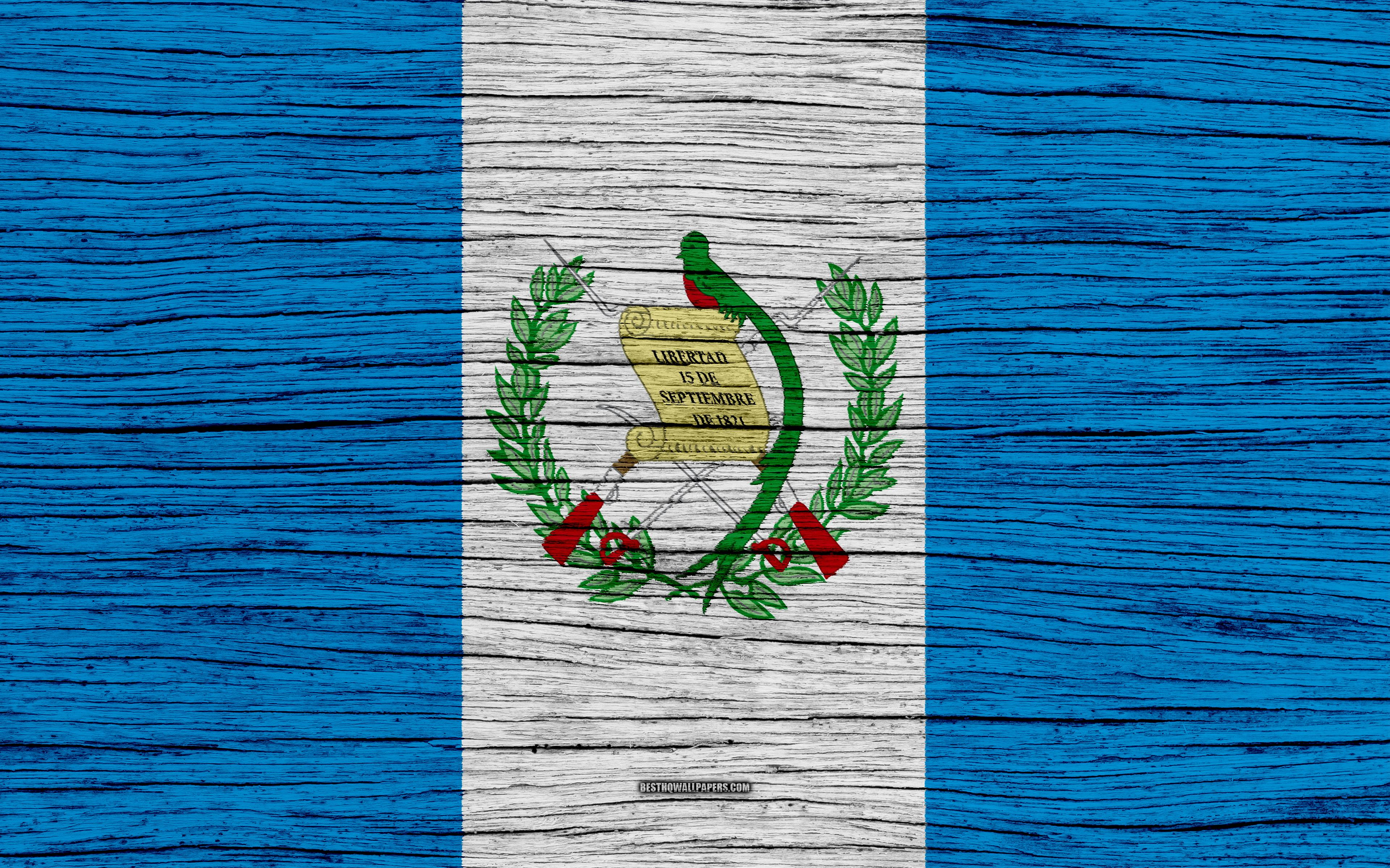 Download wallpapers Flag of Guatemala, 4k, North America, wooden