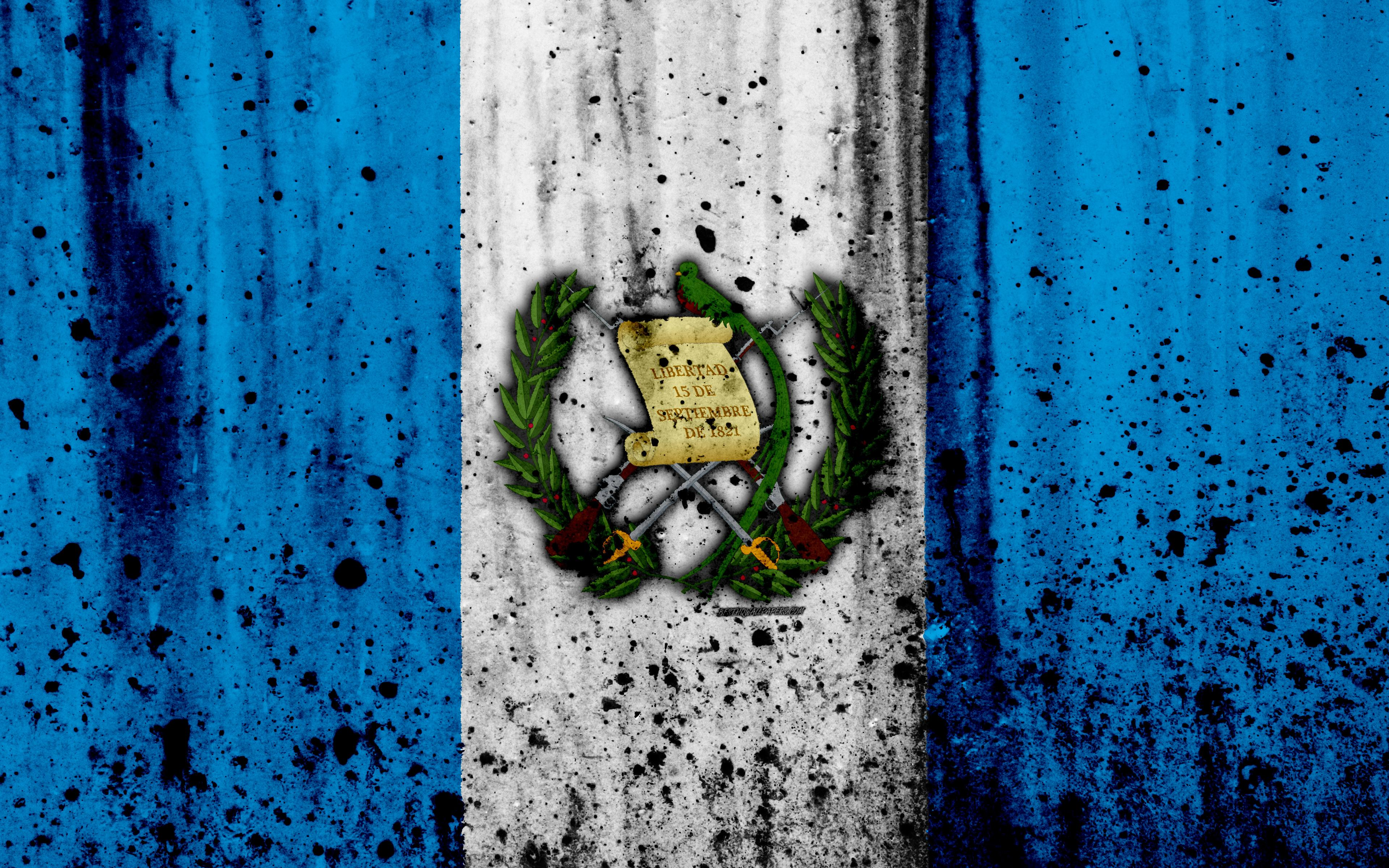 Download wallpapers Guatemalan flag, 4k, grunge, North America, flag