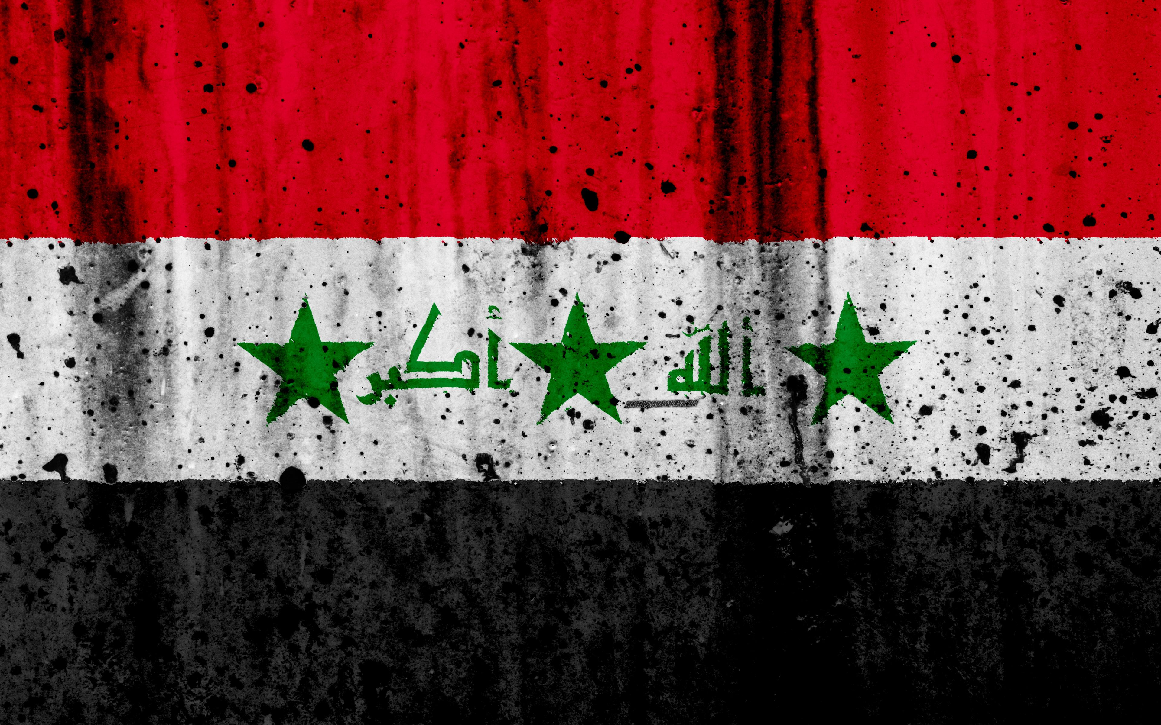 Download wallpapers Iraqi flag, 4k, grunge, flag of Iraq, Asia, Iraq