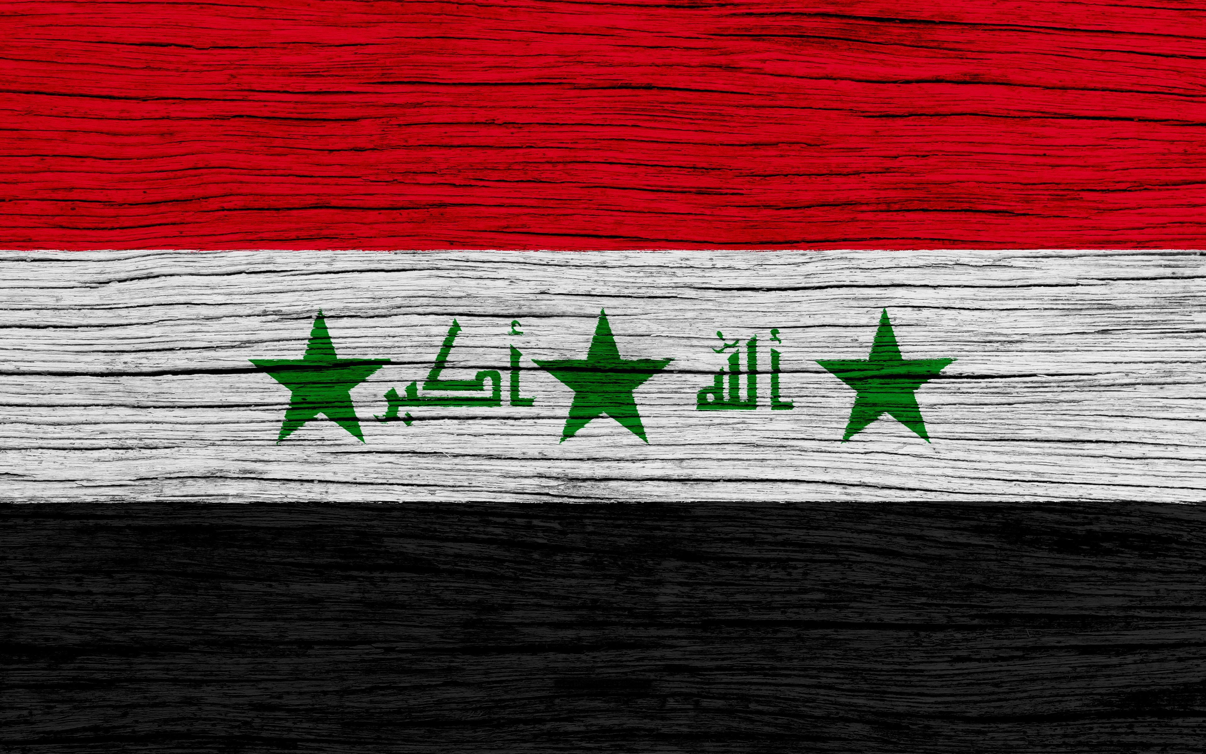 Download wallpapers Flag of Iraq, 4k, Asia, wooden texture, Iraqi