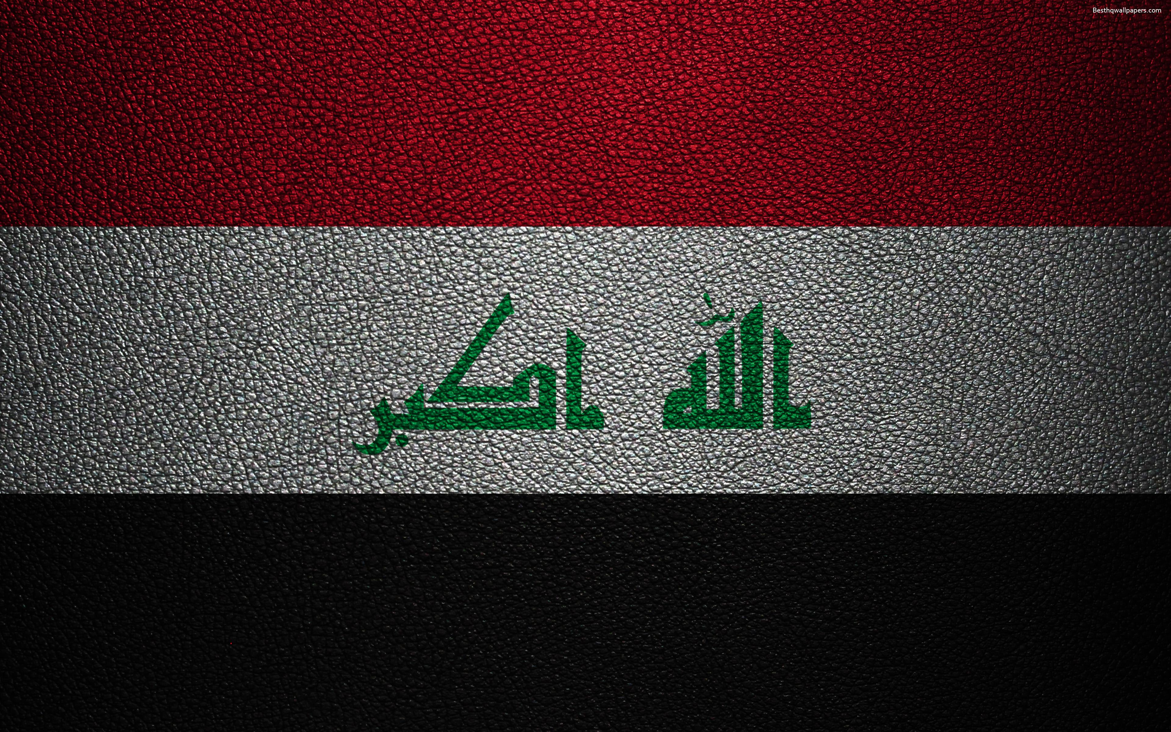 Download wallpapers Flag of Iraq, 4k, leather texture, Iraqi flag