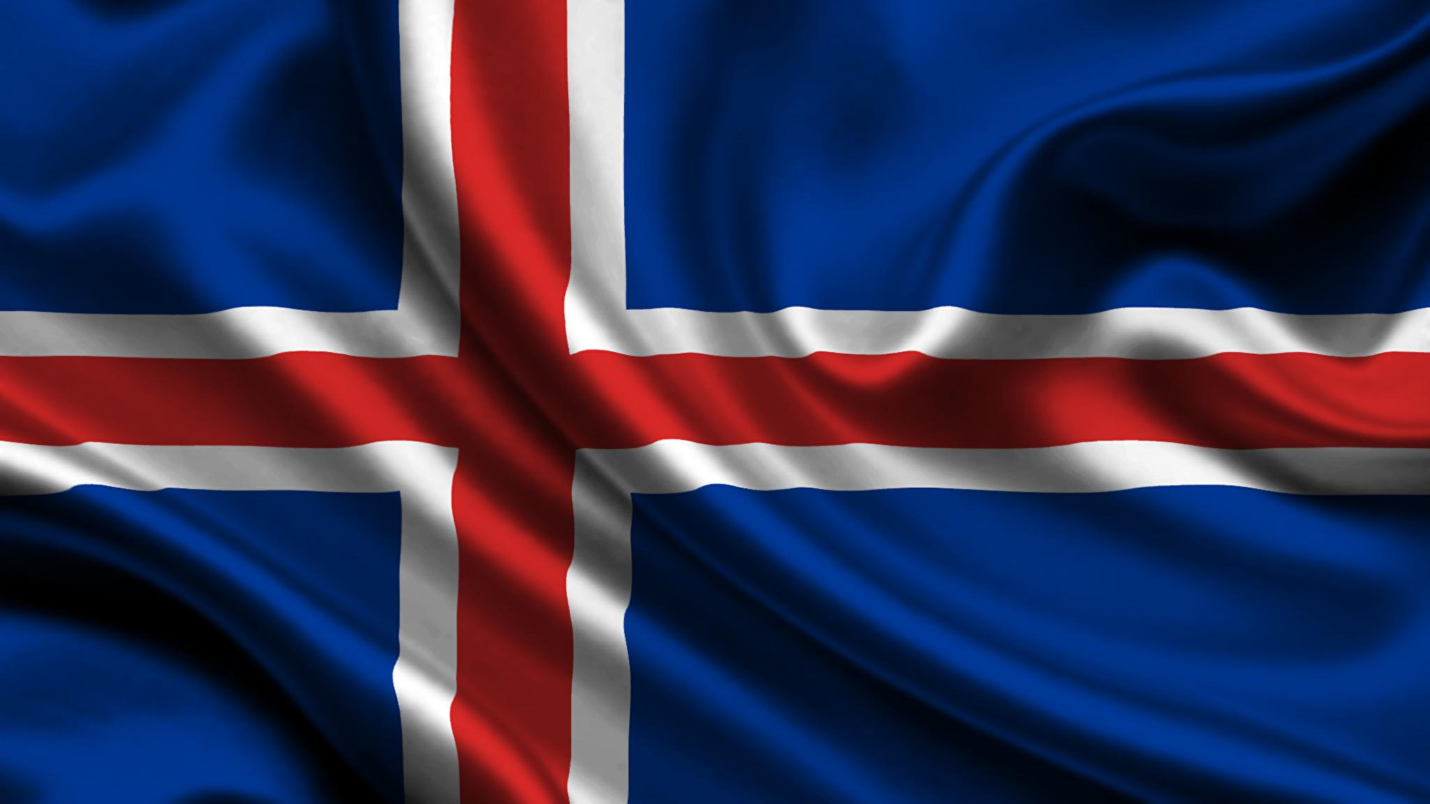 Wallpapers Iceland Flag Cross 2048x1152