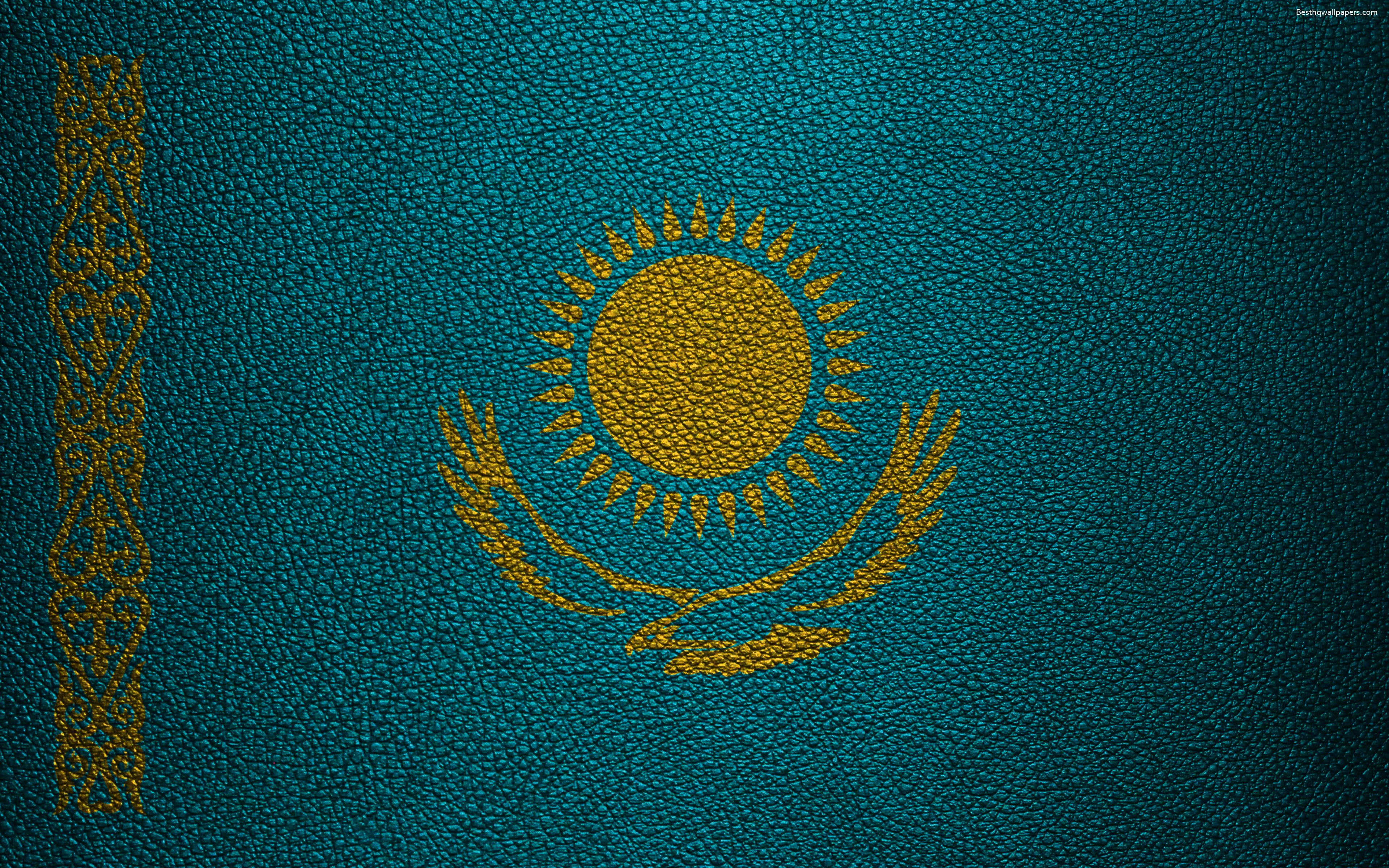 Download wallpapers Flag of Kazakhstan, 4k, leather texture ...