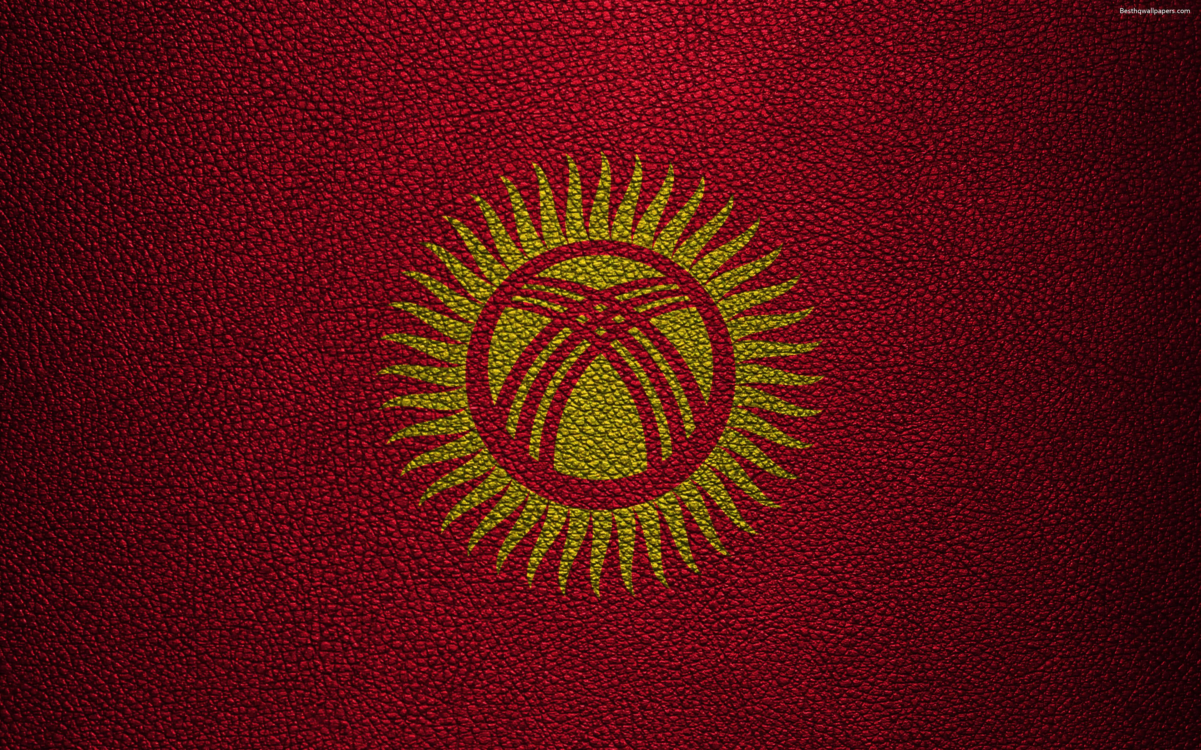 Download wallpapers Flag of Kyrgyzstan, 4K, leather texture, Kyrgyz