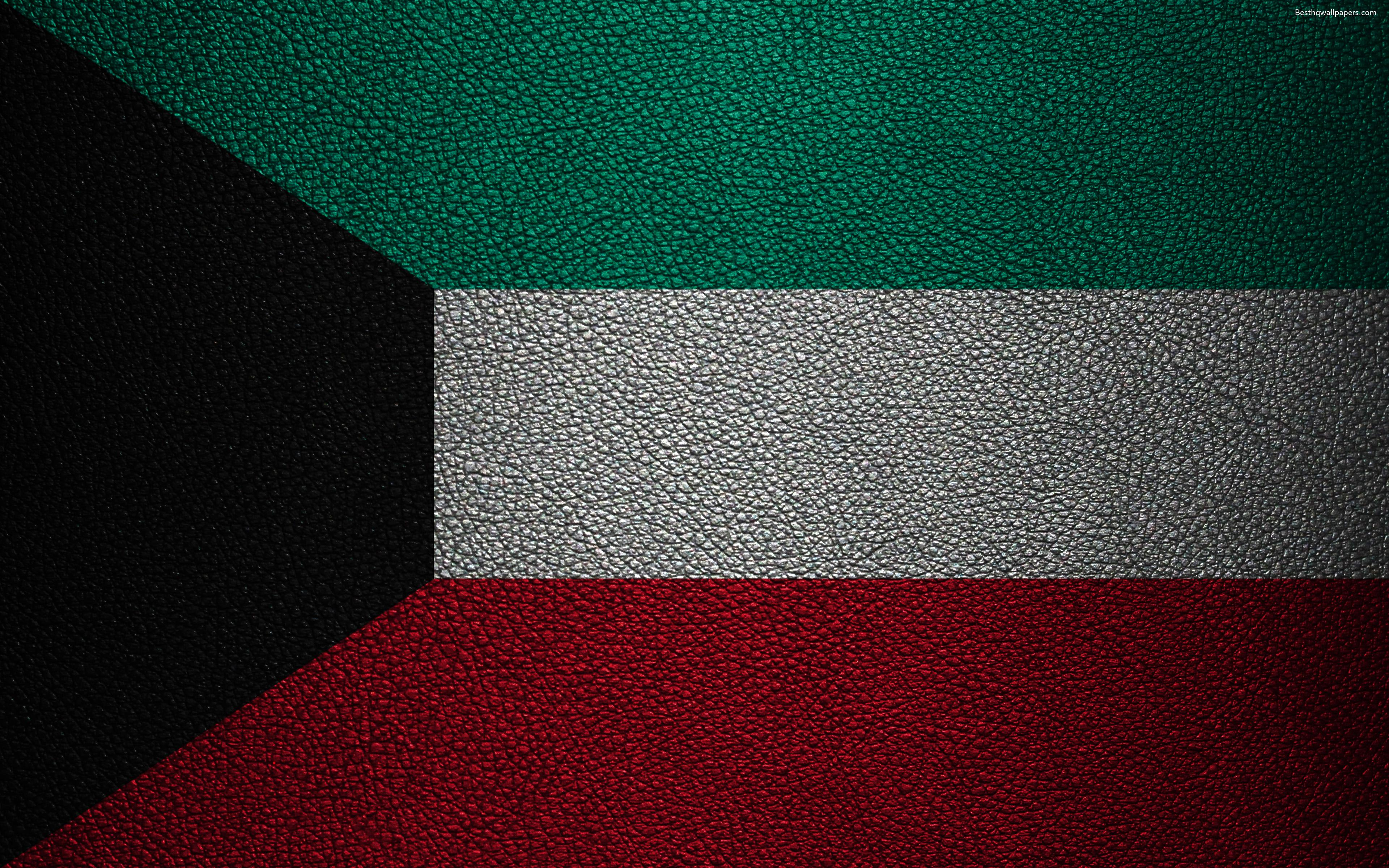 Download wallpapers Flag of Kuwait, 4K, leather texture, Kuwait flag ...