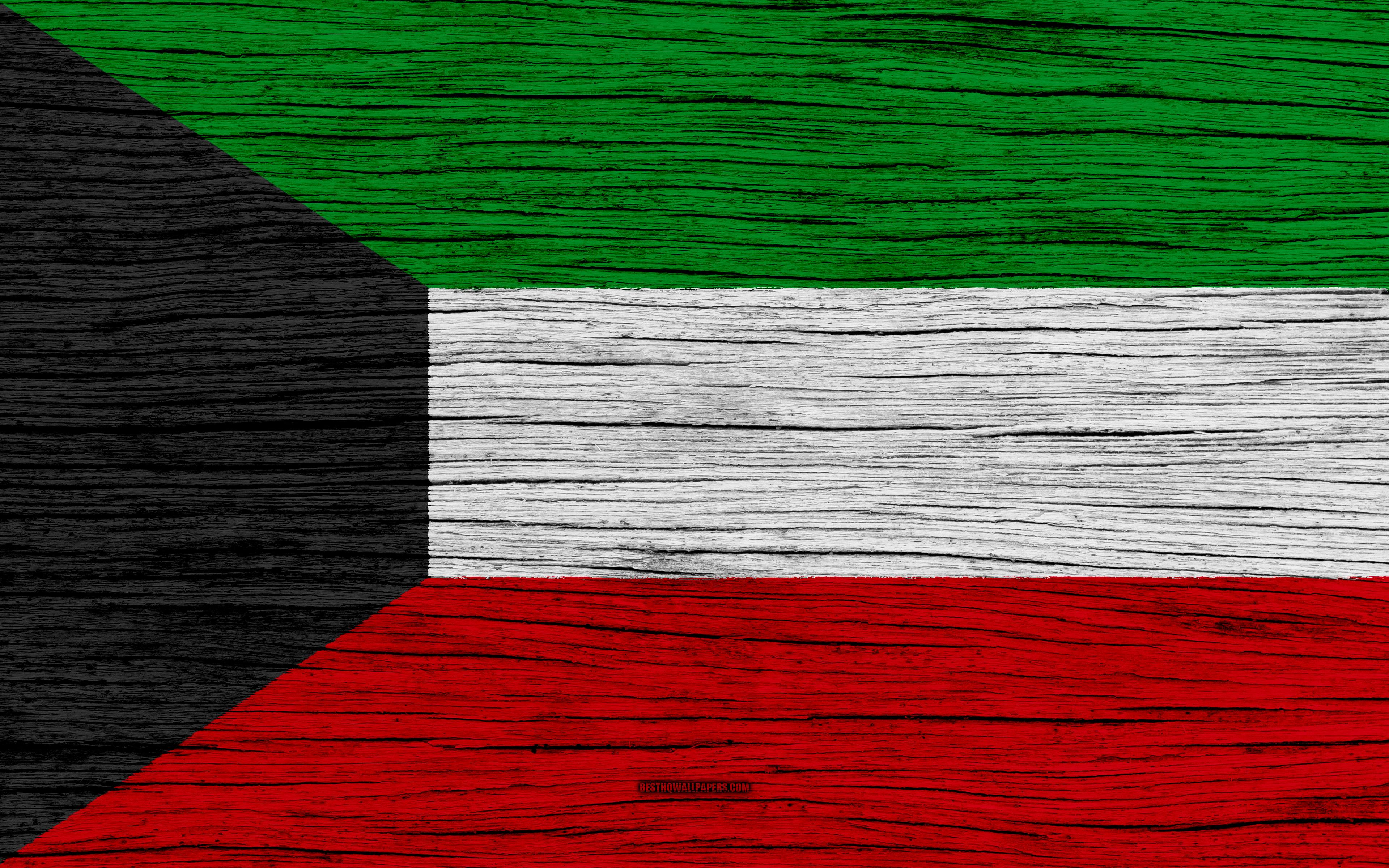 Download wallpapers Flag of Kuwait, 4k, Asia, wooden texture, Kuwait ...