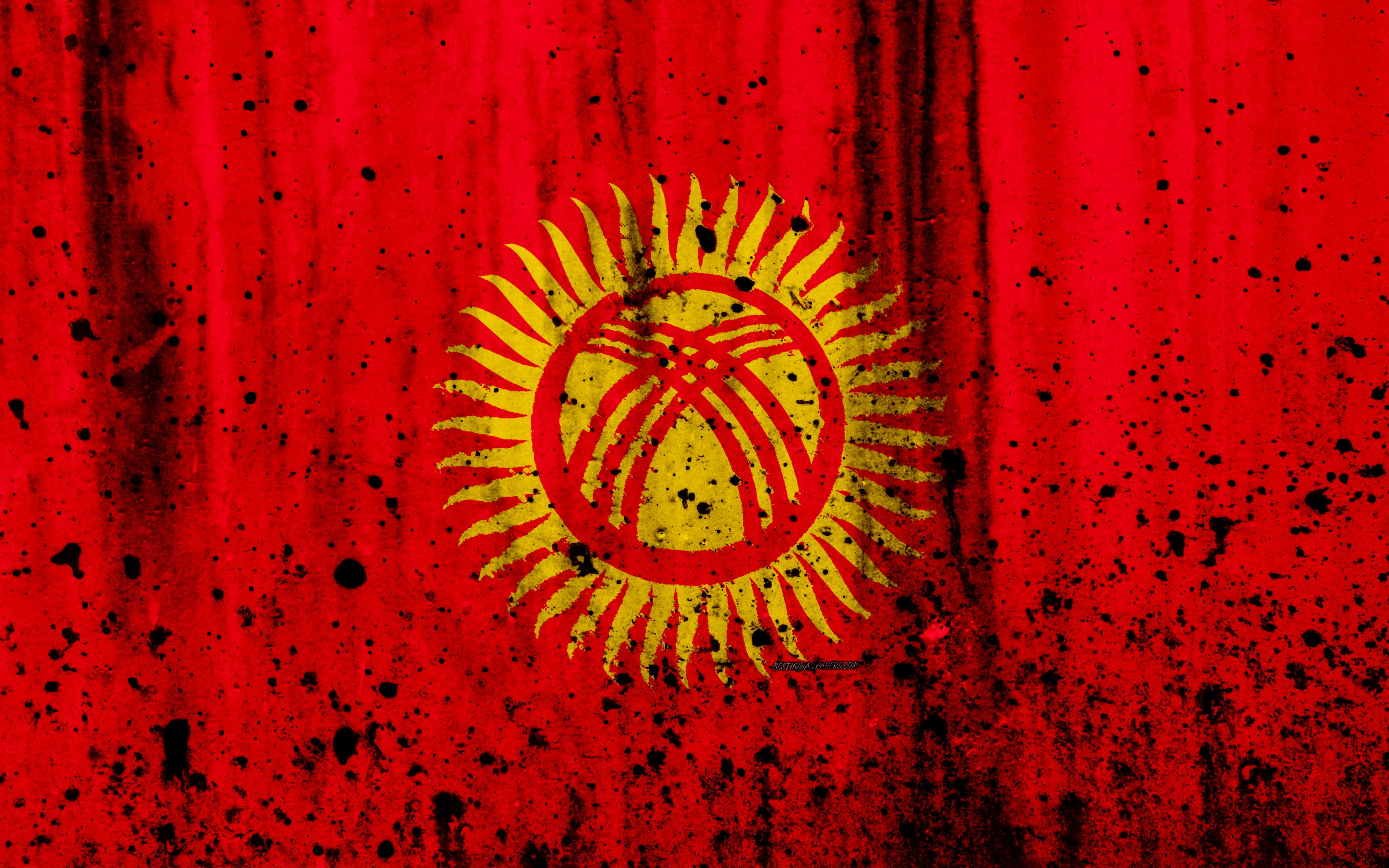 Download wallpapers Kirghiz flag, 4k, grunge, Asia, flag of