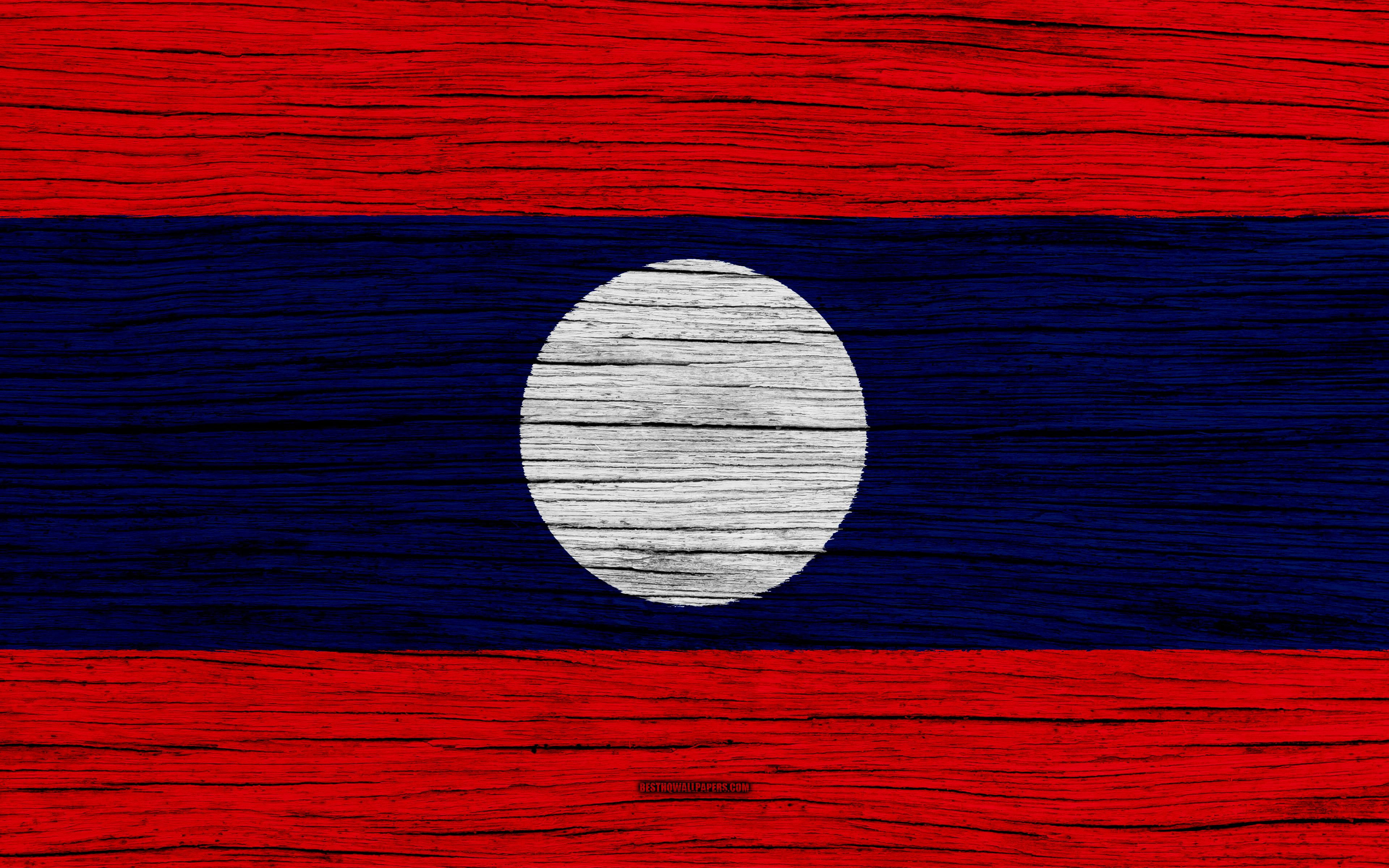 Download wallpapers Flag of Laos, 4k, Asia, wooden texture, Laotian ...