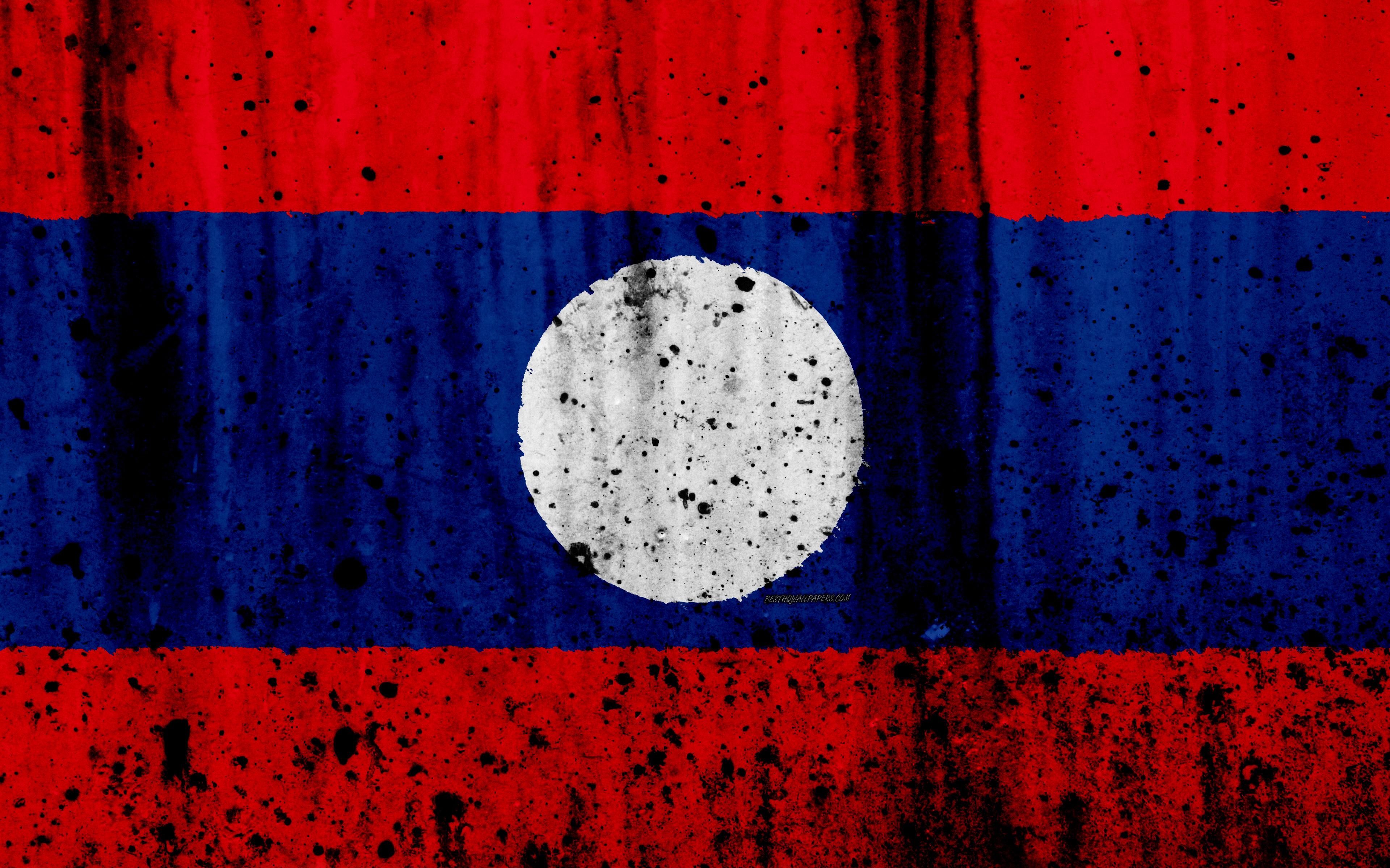 Download wallpapers Laotian flag, 4k, grunge, flag of Laos, Asia ...