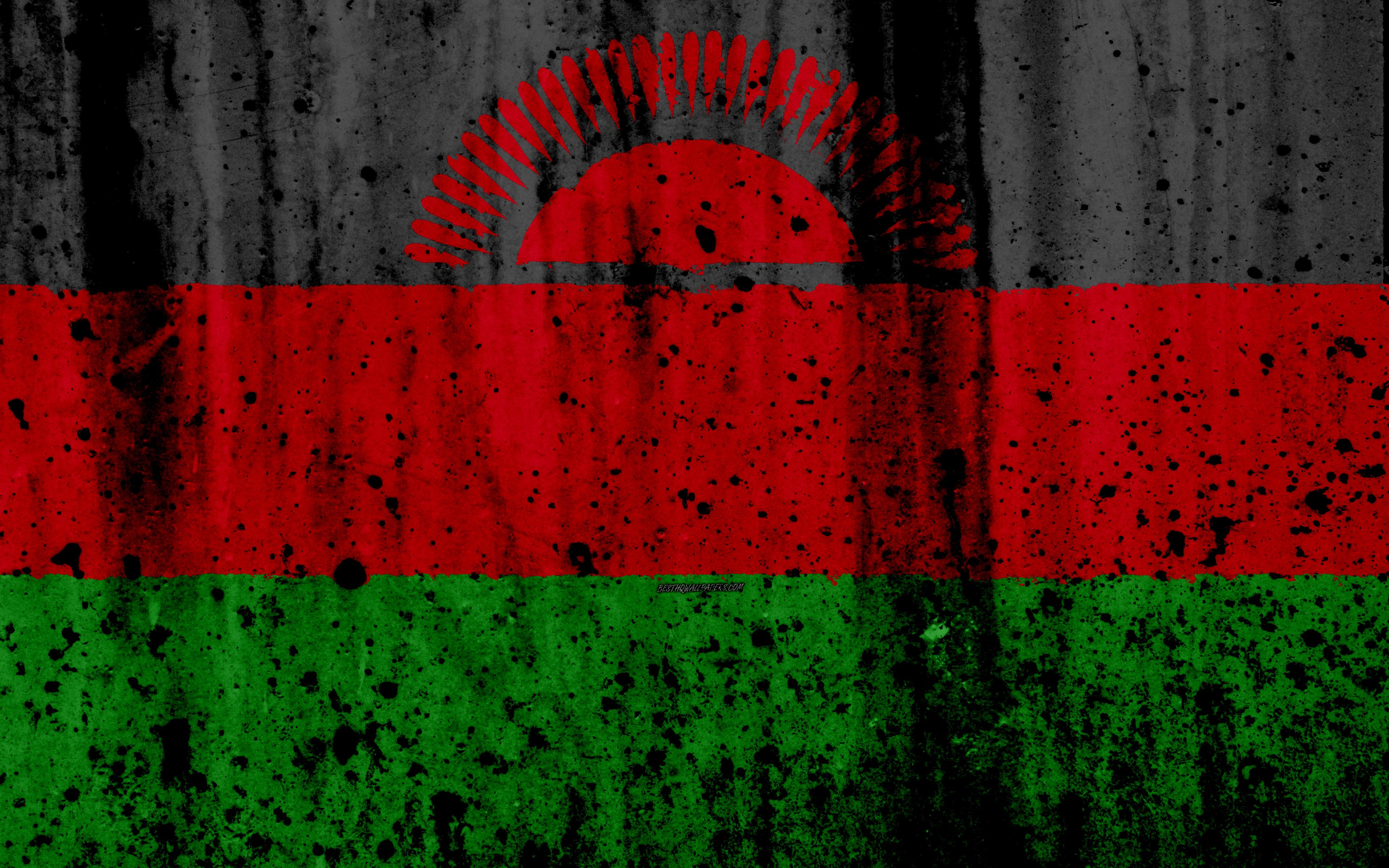 Download wallpapers Malawian flag, 4k, grunge, flag of Malawi