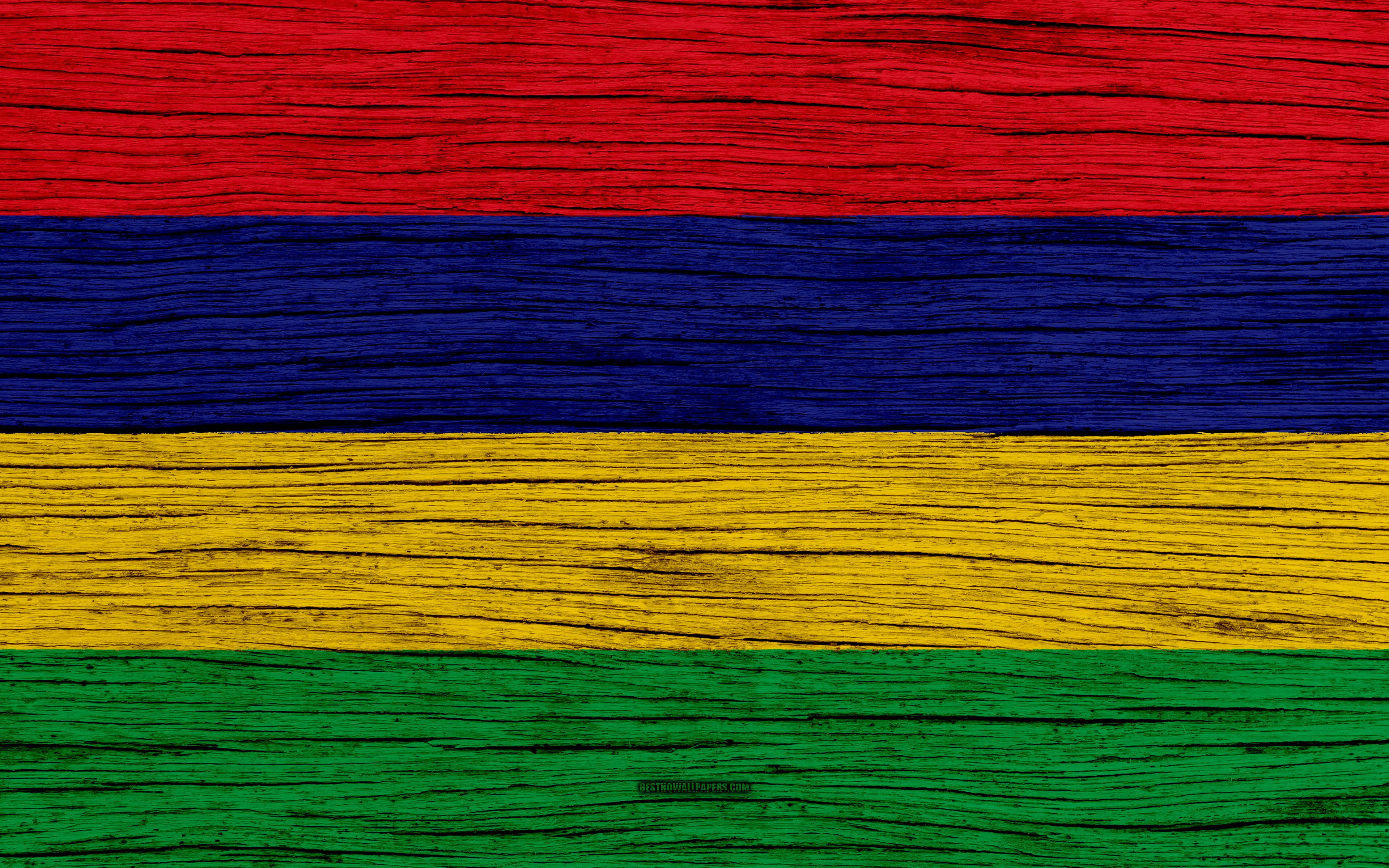 Download wallpapers Flag of Mauritius, 4k, Africa, wooden texture