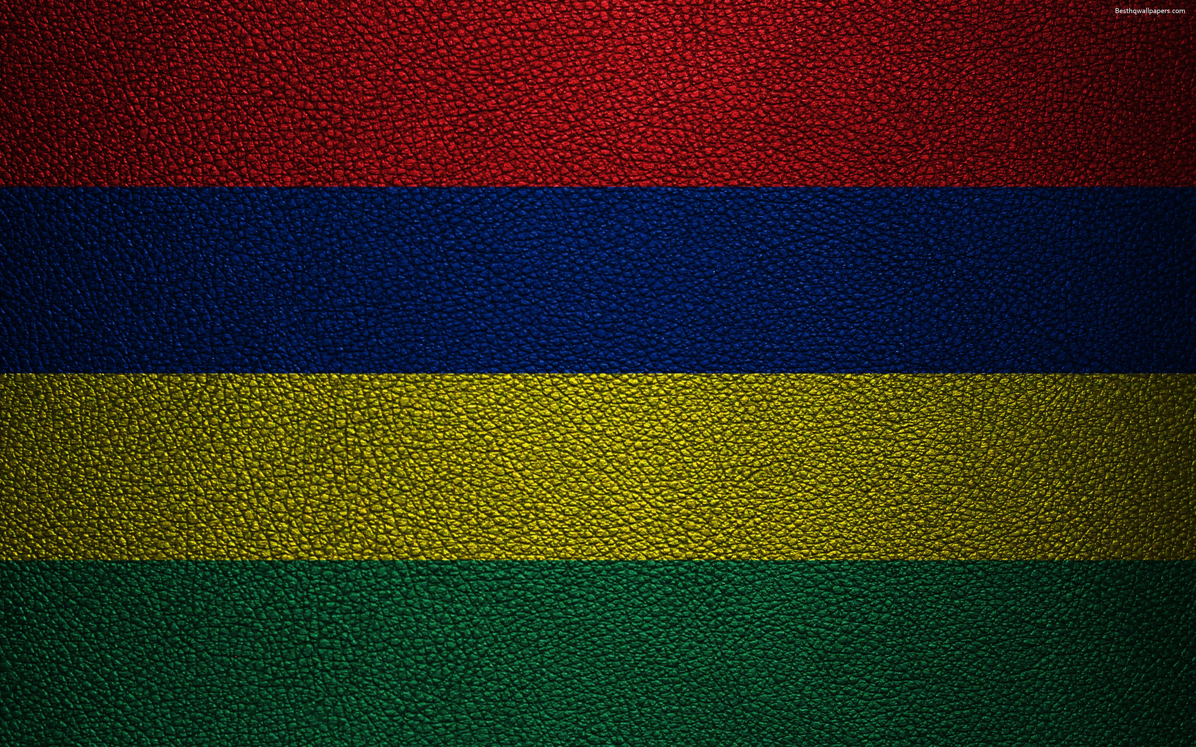 Download wallpapers Flag of Mauritius, 4k, leather texture, Africa ...