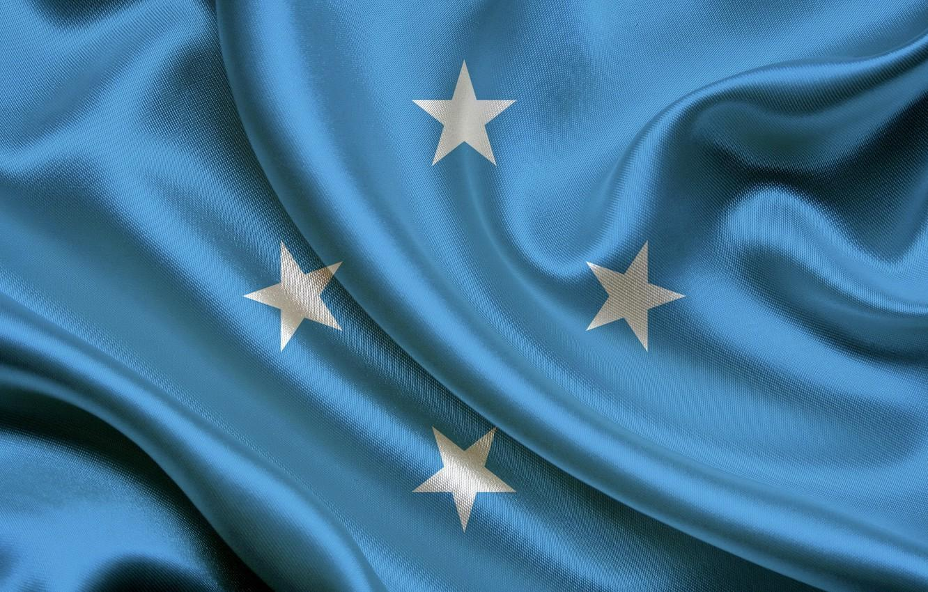 Wallpapers Flag, Blue, Texture, Stars, Flag, Satin, Satin, Micronesia