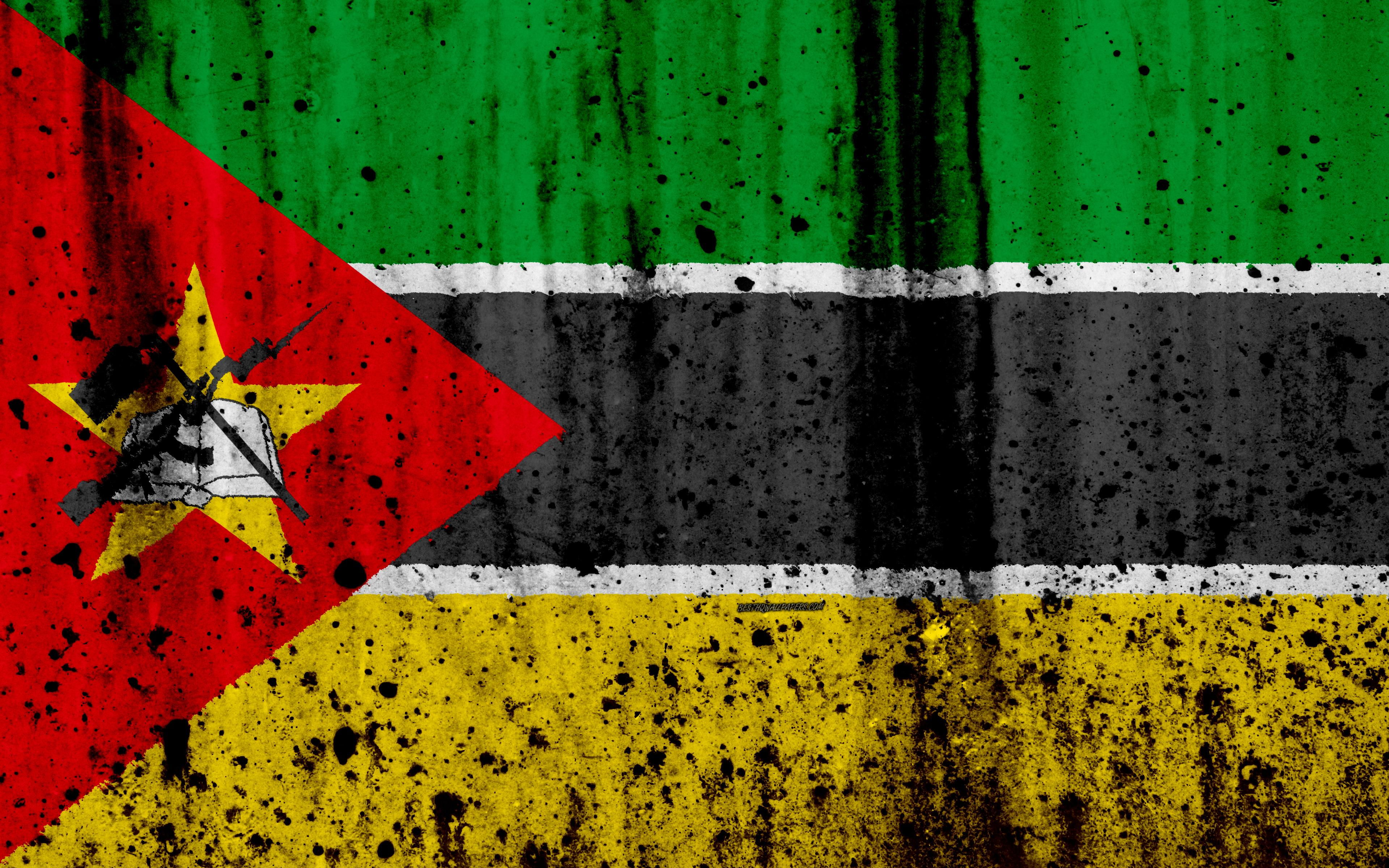 Download wallpapers Mozambique flag, 4k, grunge, flag of Mozambique