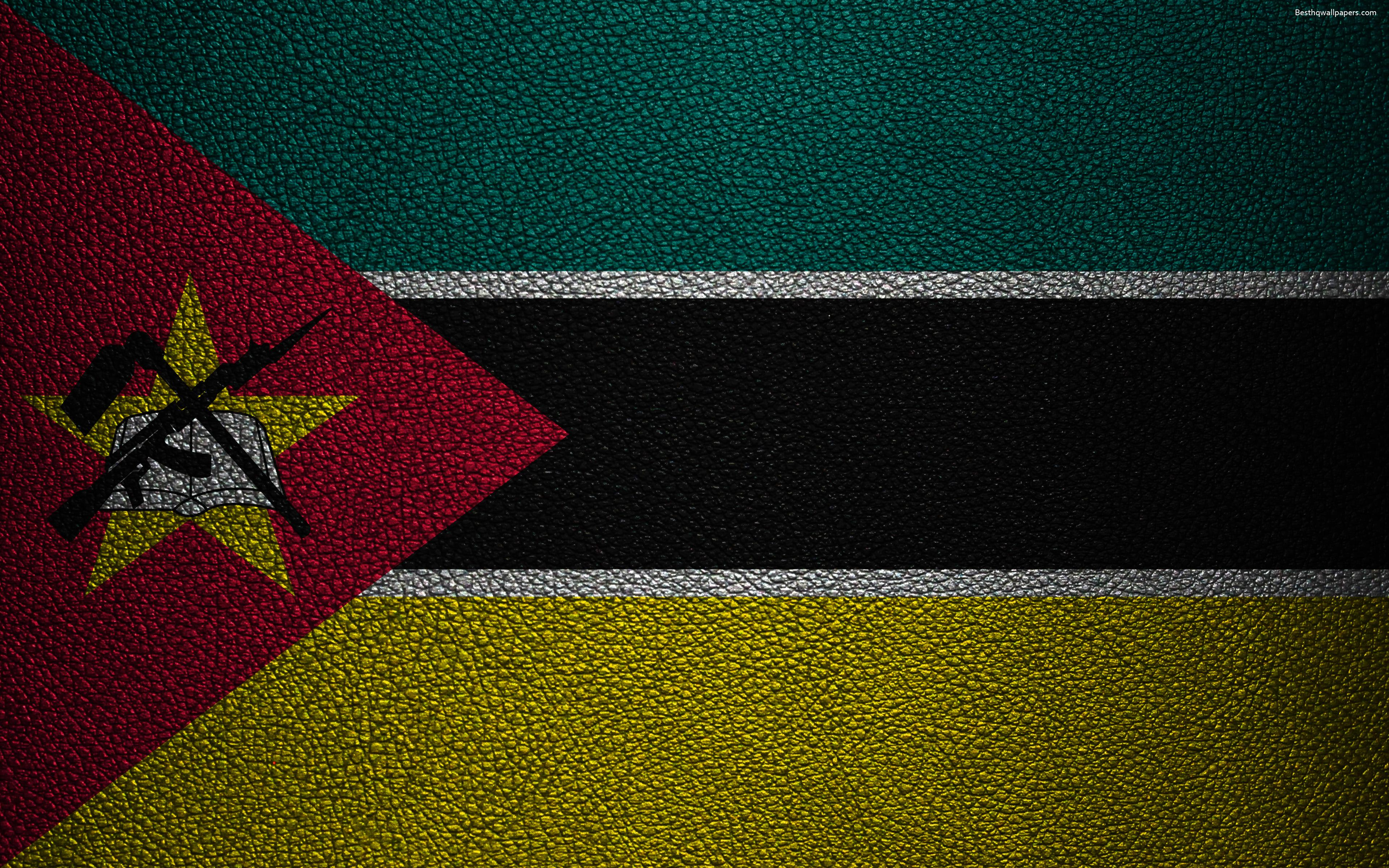 Download wallpapers Flag of Mozambique, 4K, leather texture, Africa