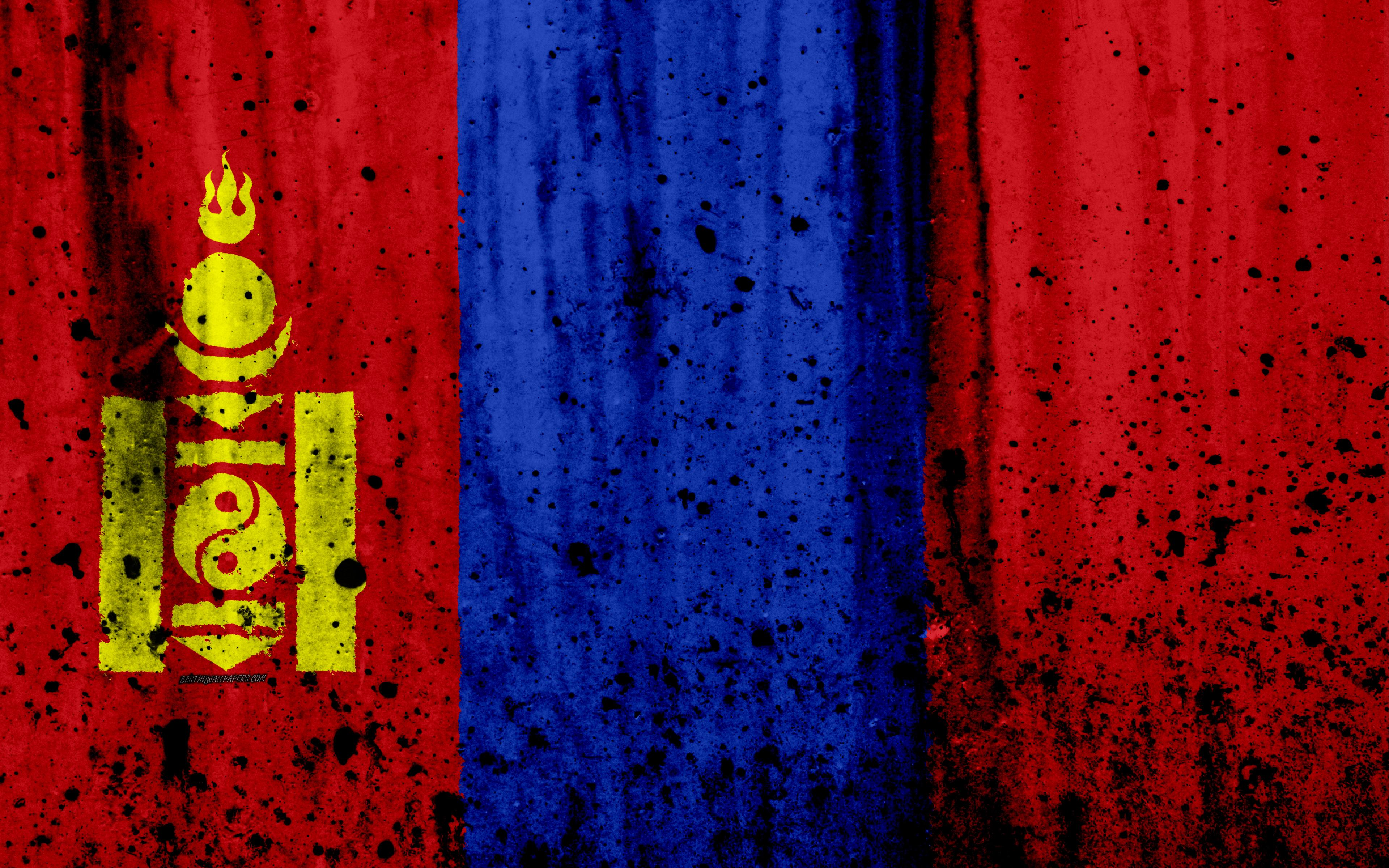 Download wallpapers Mongolian flag, 4k, grunge, Asia, flag of ...