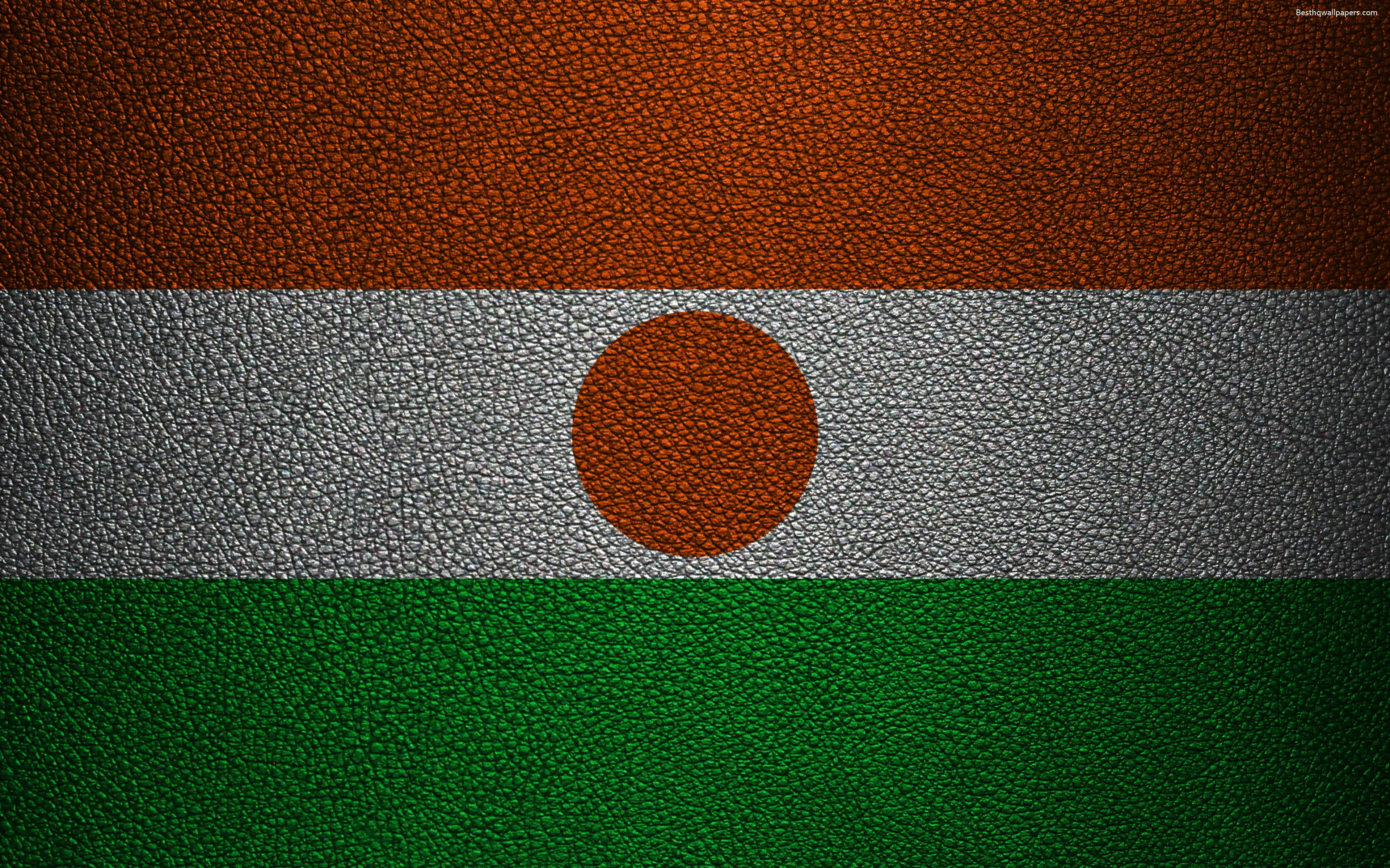 Download wallpapers Flag of Niger, Africa, 4k, leather texture ...