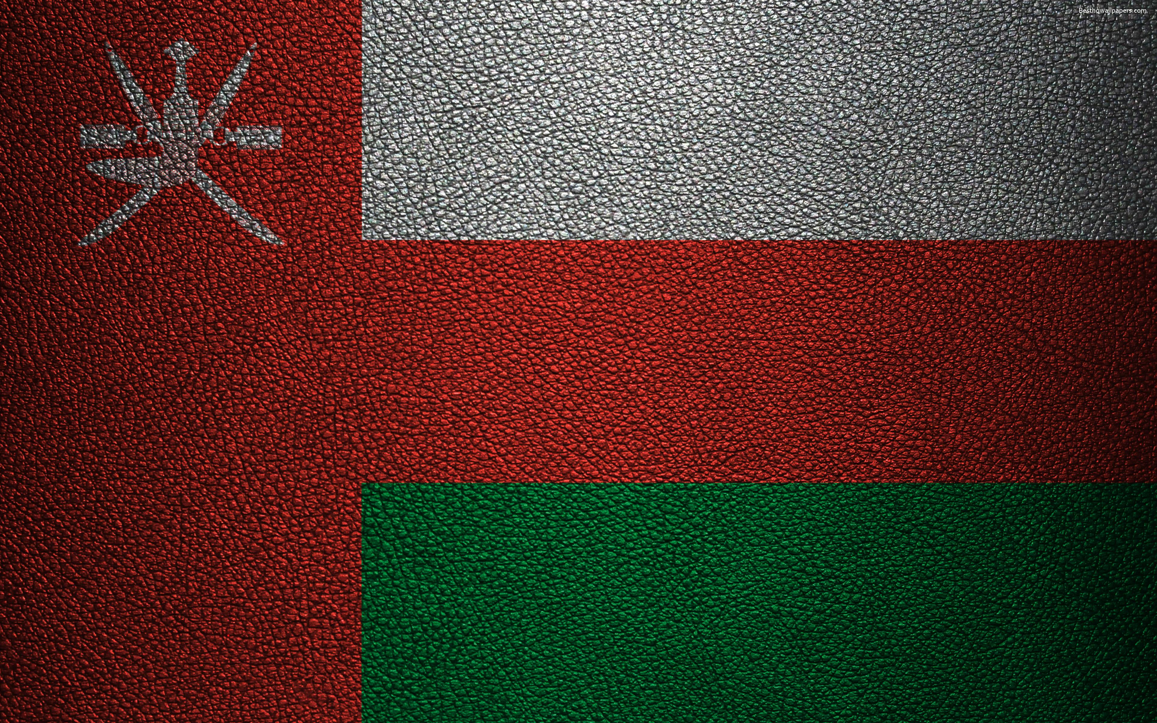 Download wallpapers Flag of Oman, 4K, leather texture, Omani flag ...