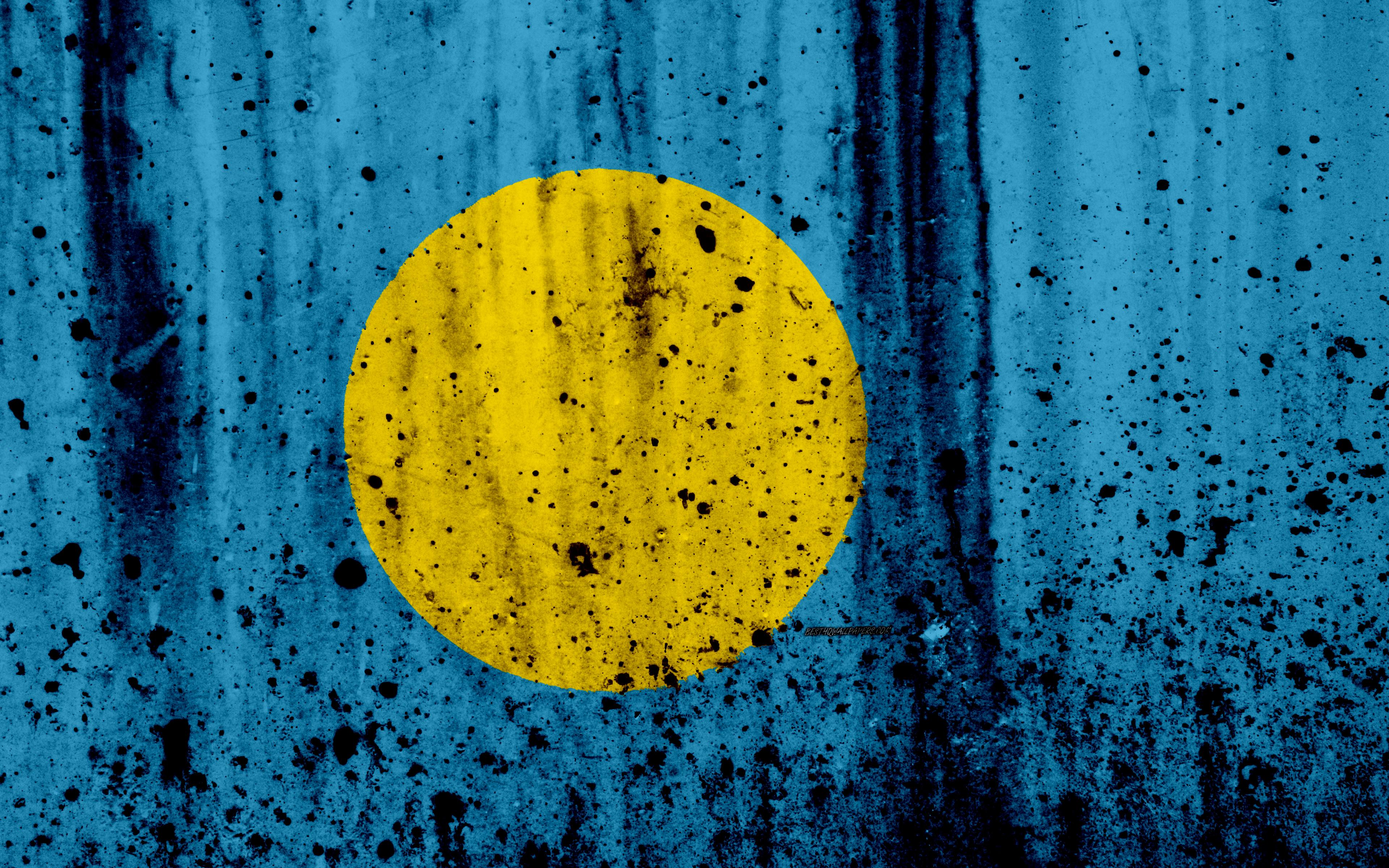 Download wallpapers Palau flag, 4k, grunge, flag of Palau, Oceania