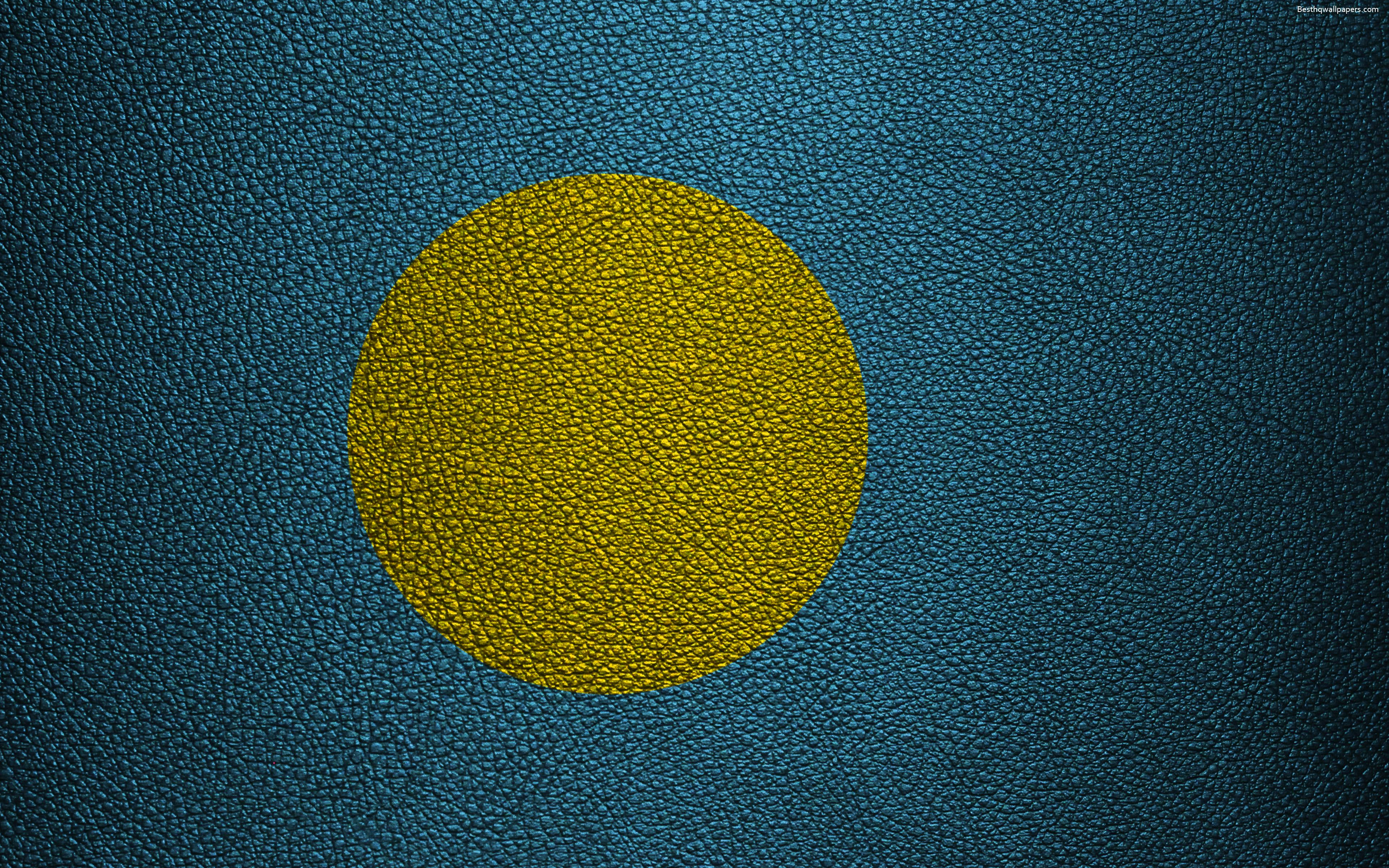 Download wallpapers Flag of Palau, 4k, leather texture, Oceania