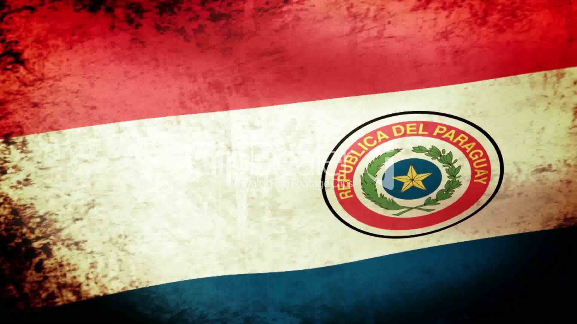 Paraguay Flag Waving, grunge look: Royalty-free video and stock footage